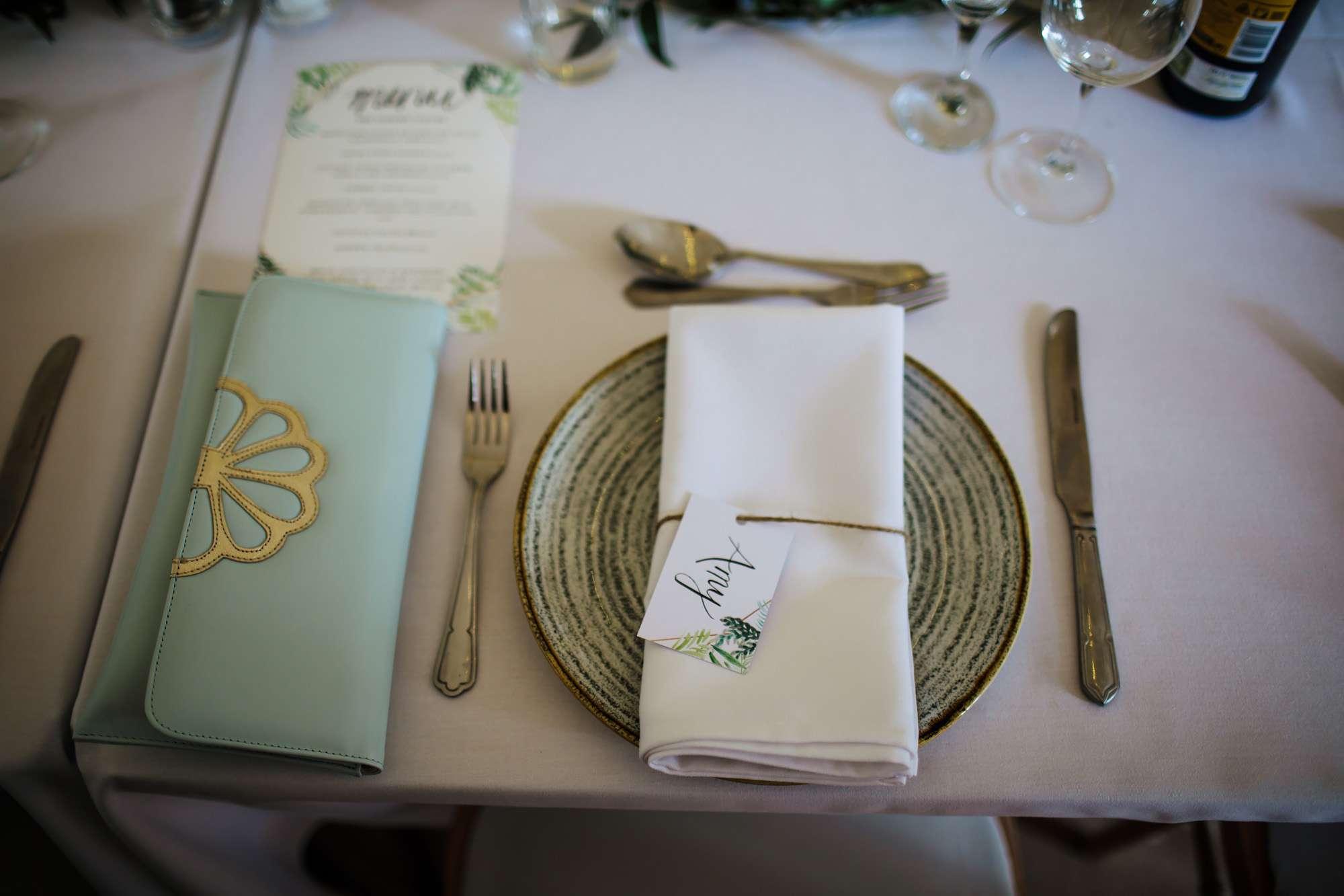 Wedding table decorations at East Keswick Village Hall