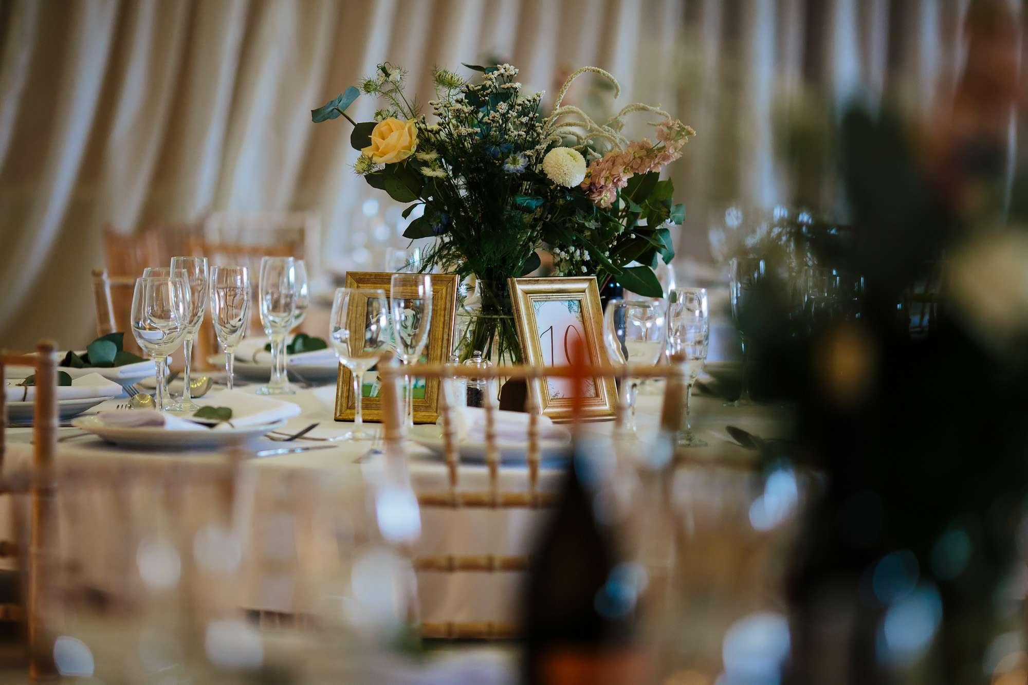 Flower centrepiece at East Keswick Village Hall wedding
