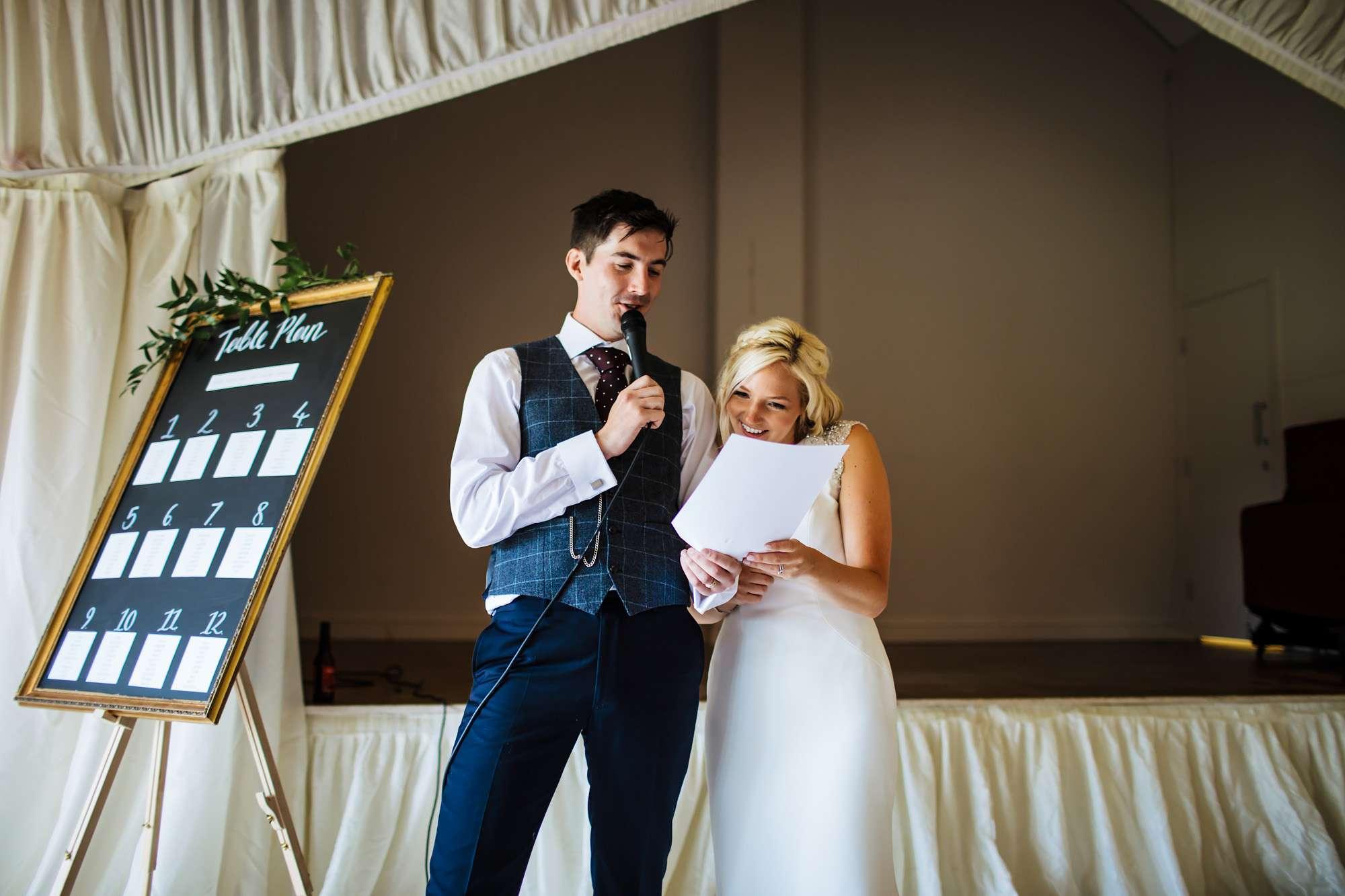 Bride and groom speech at East Keswick Village Hall wedding