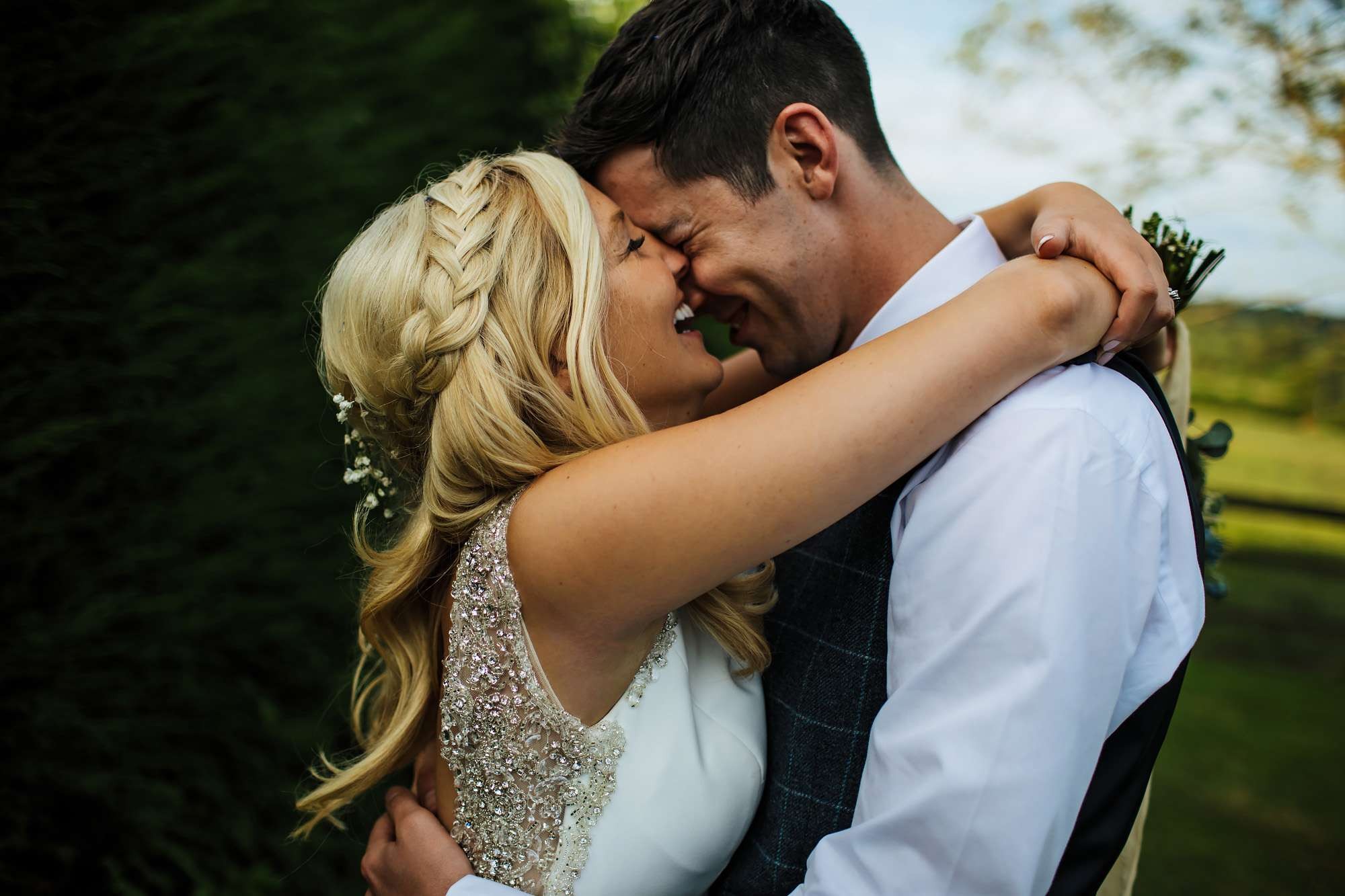 Bride and groom in love at a Leeds wedding