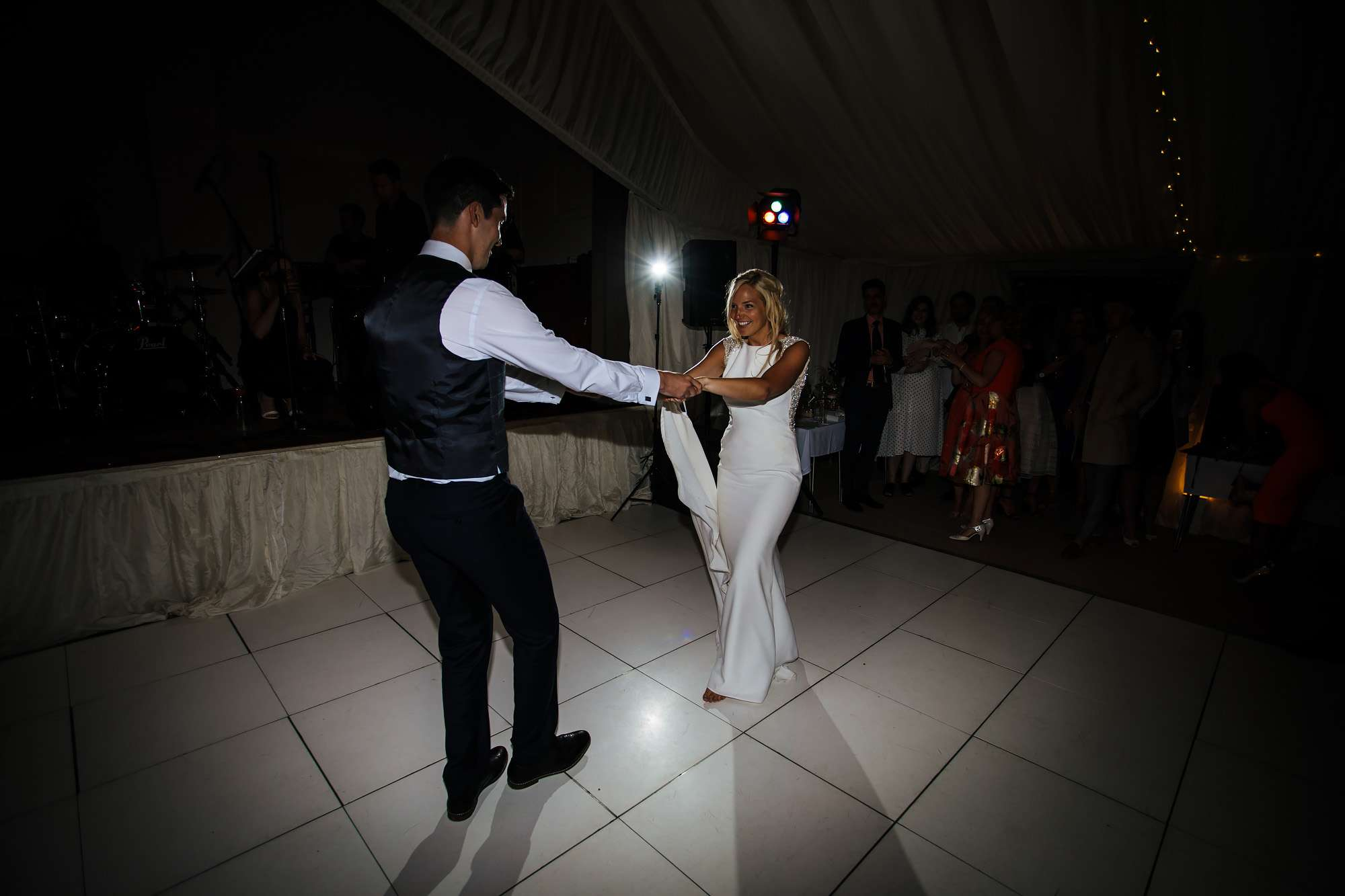 Bride and groom first dance at East Keswick Village Hall
