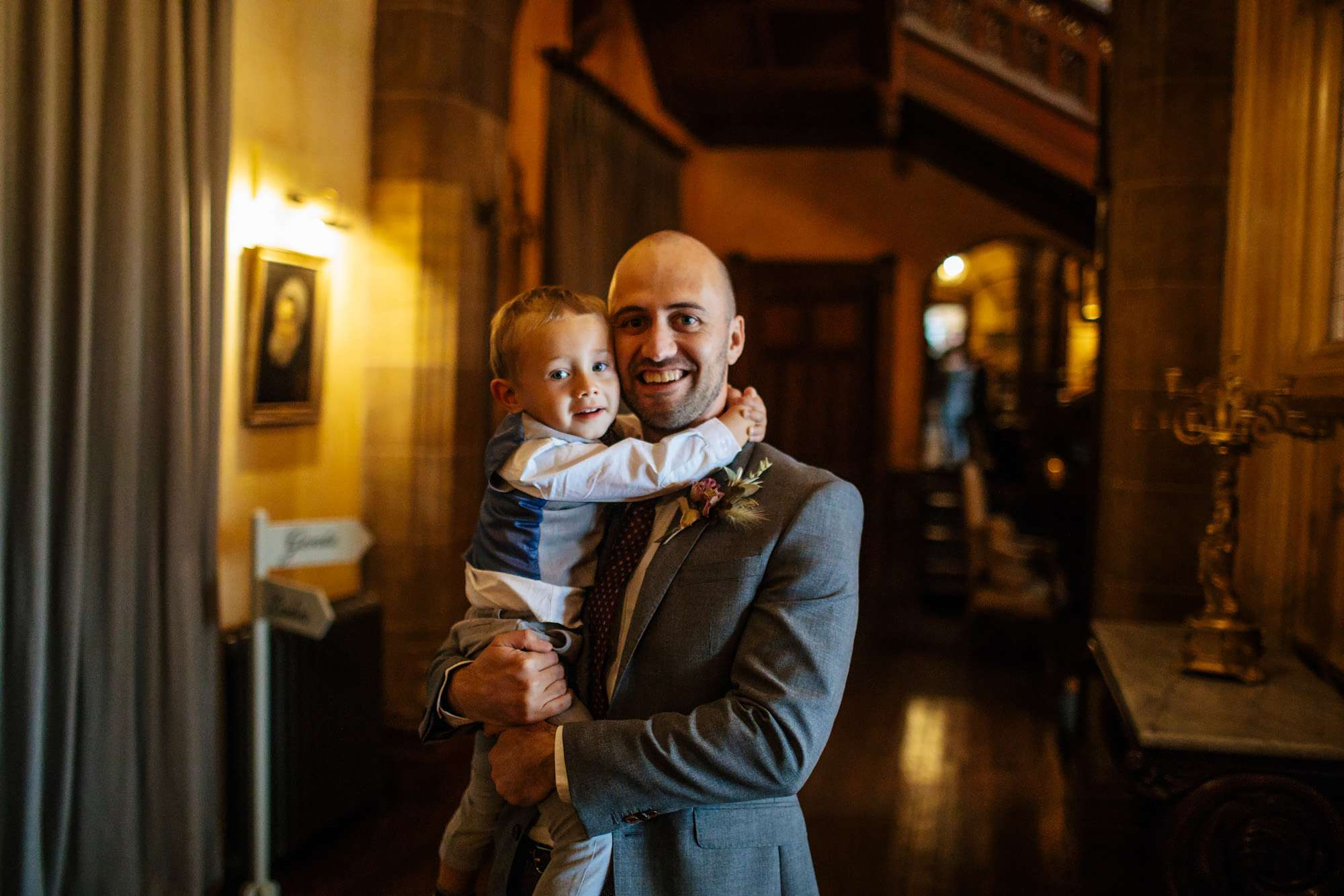 Best man with his son at a wedding