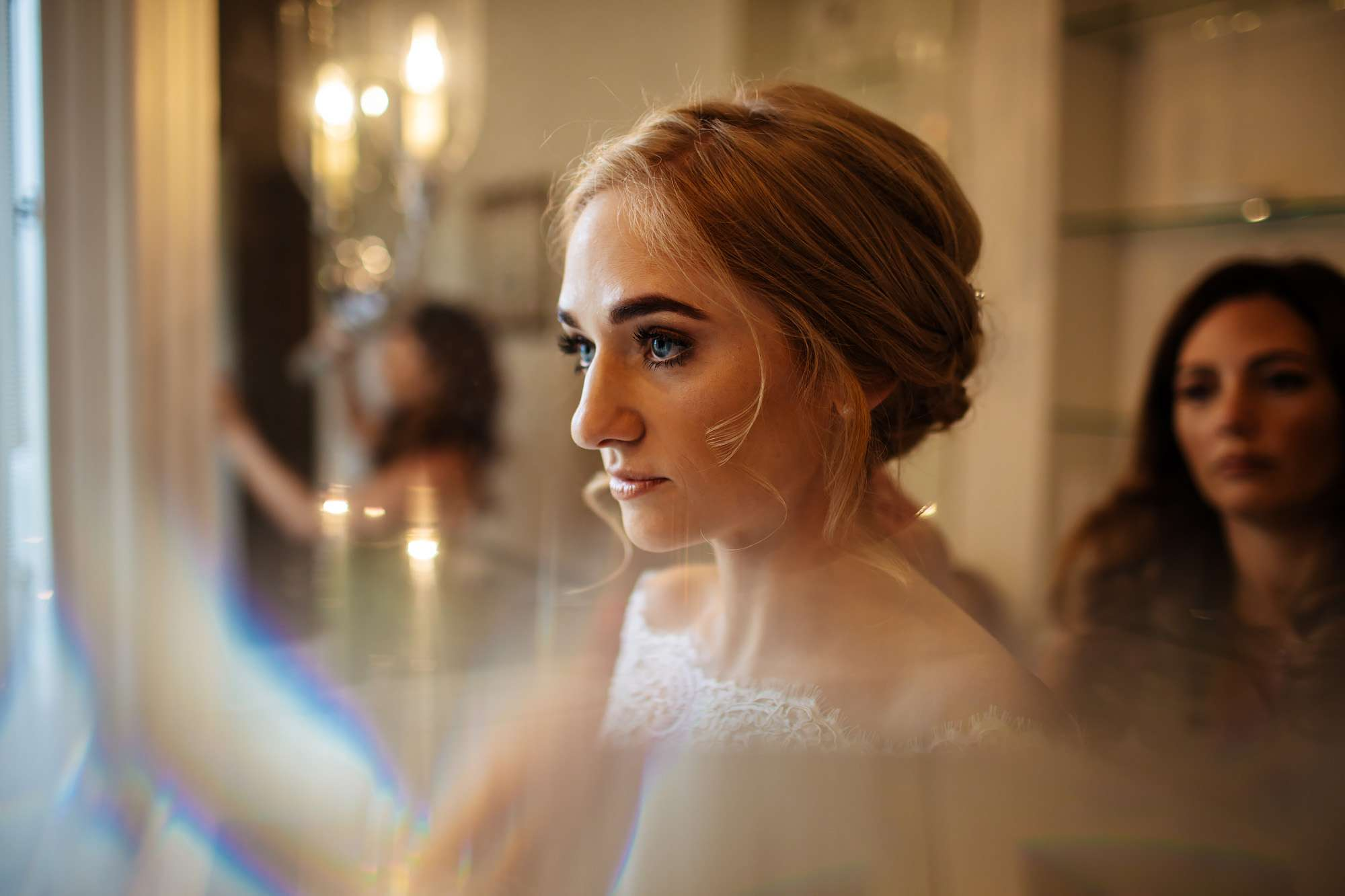 Close up portrait of the bride getting ready