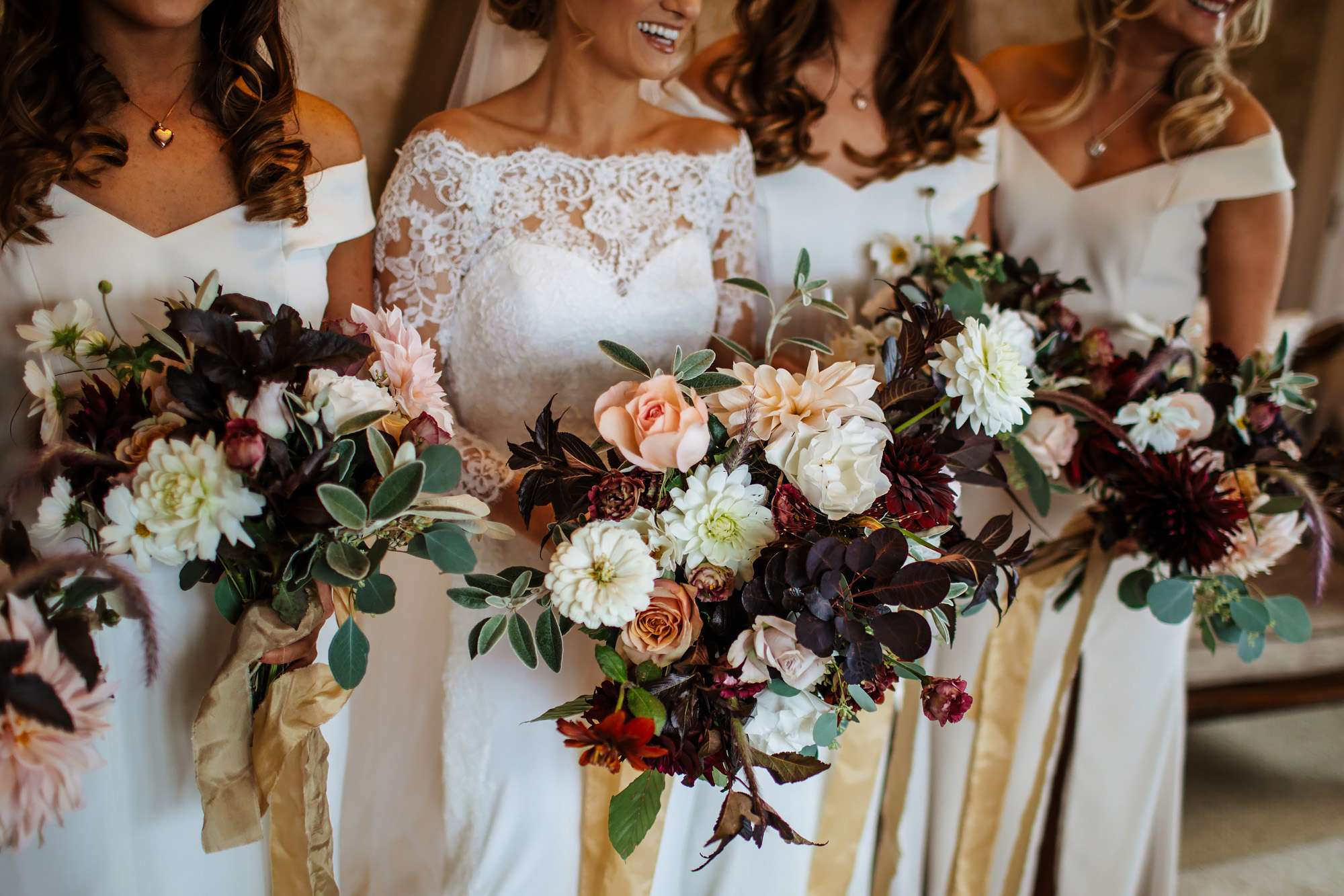 Bridesmaids with their flowers at a wedding