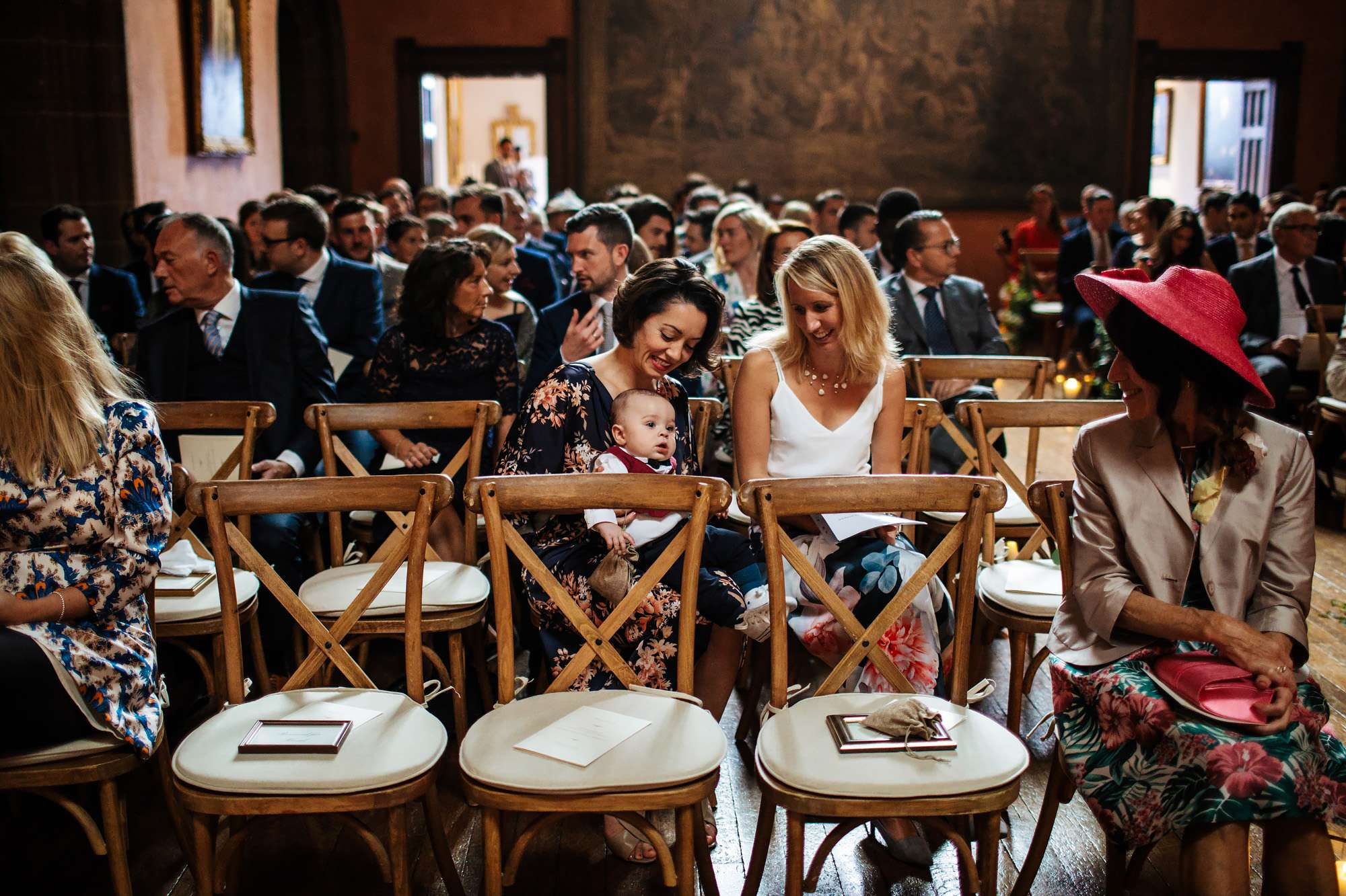 Wedding guests at Cowdray House