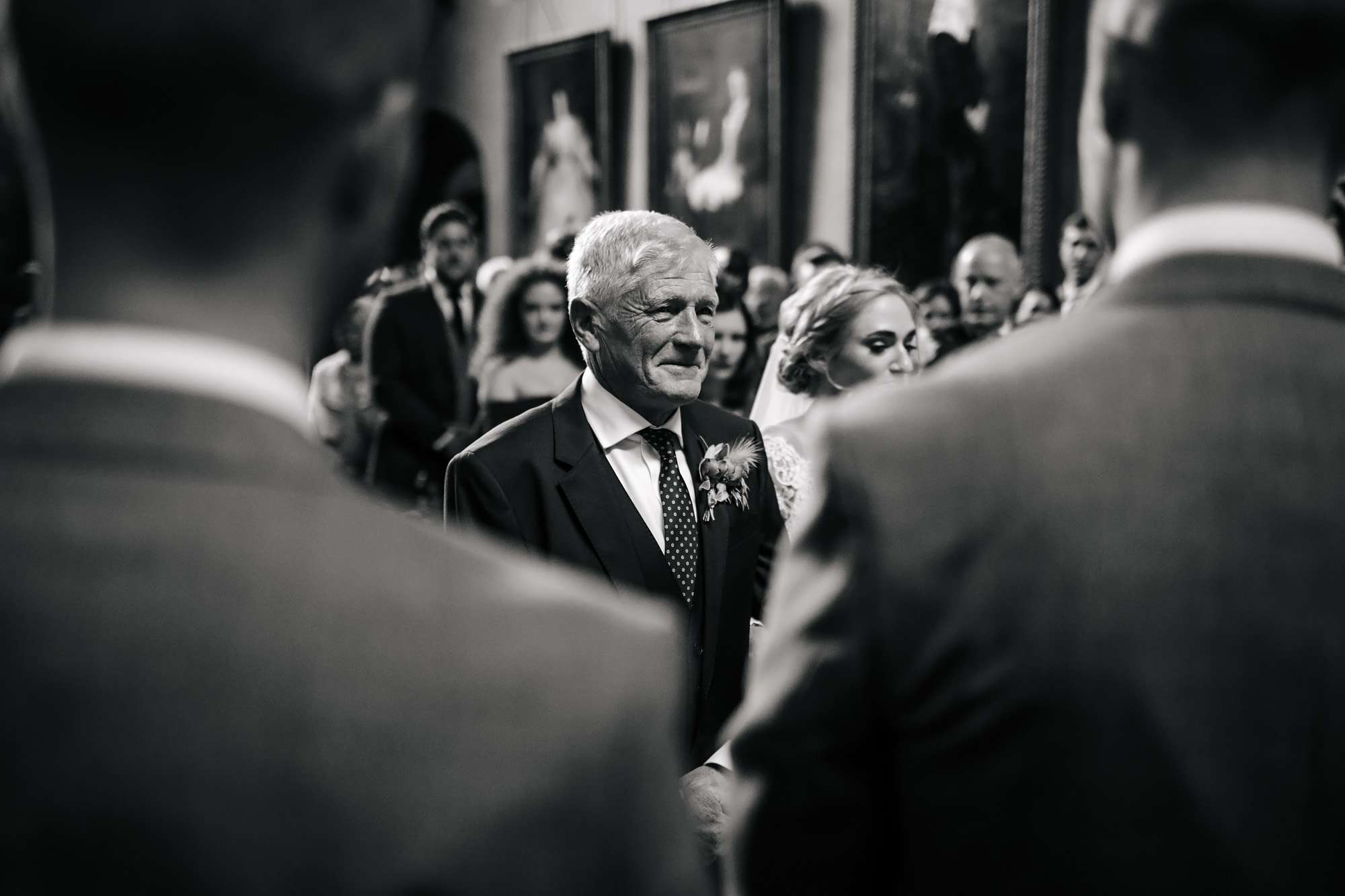 Bride's father getting emotional during the ceremony