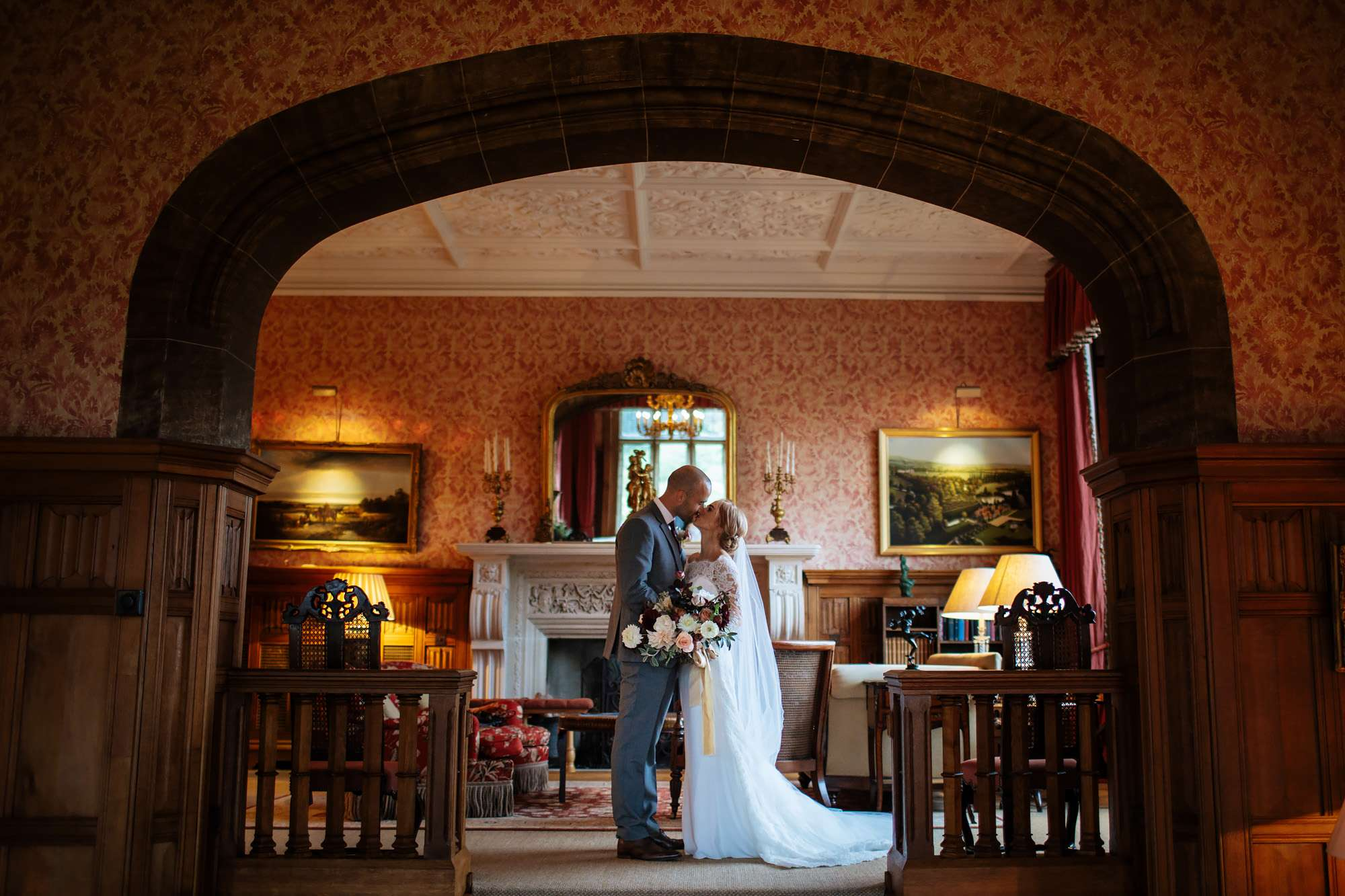 Bride and groom pose for a portrait on their wedding day