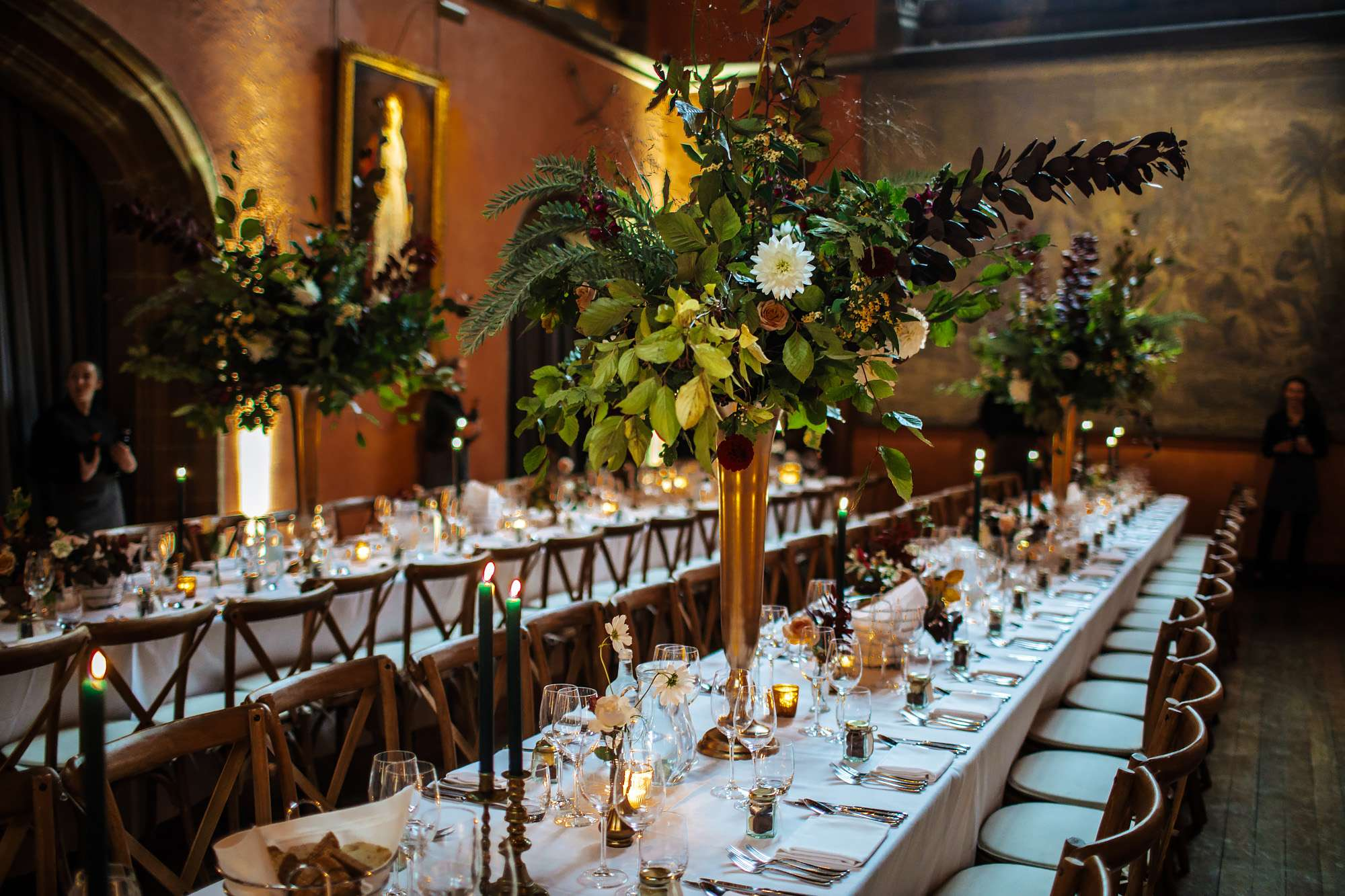 Flowers on the tables at a Cowdray House wedding