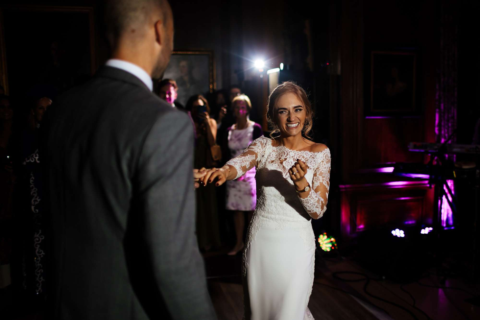 Bride and groom perform their first dance at their wedding