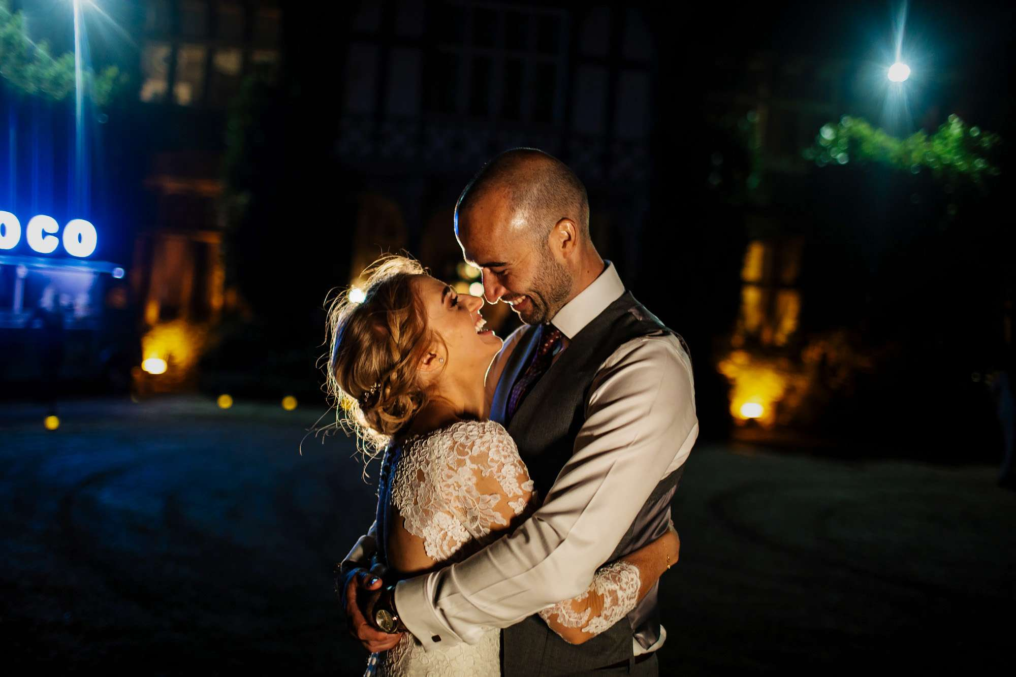 Evening portrait at Cowdray of bride and groom