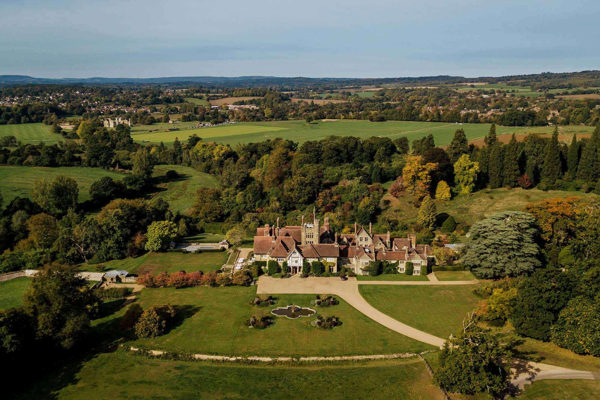 Drone shot of Cowdray House on a sunny day
