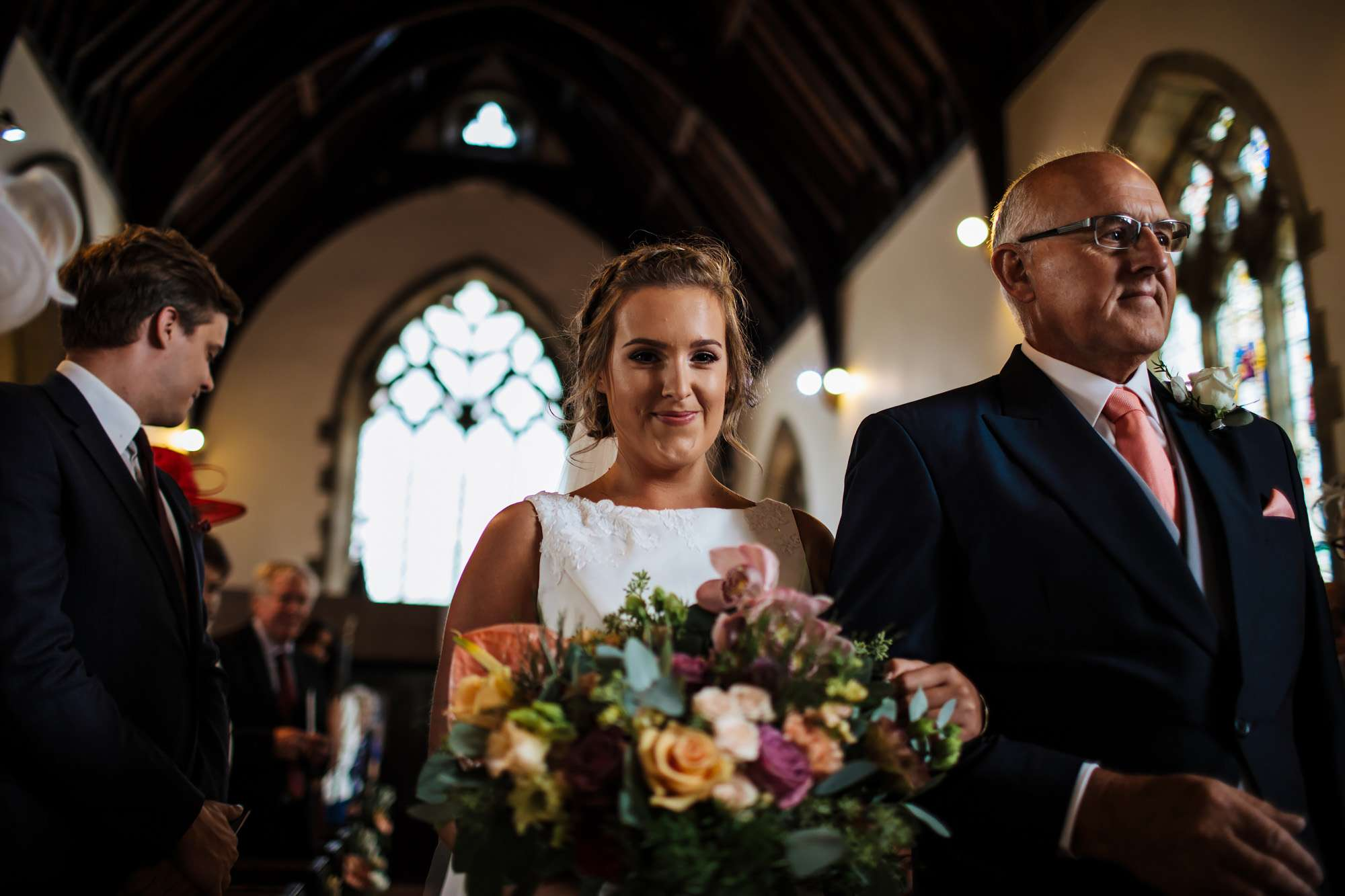 Bride smiling at a Huddersfield wedding