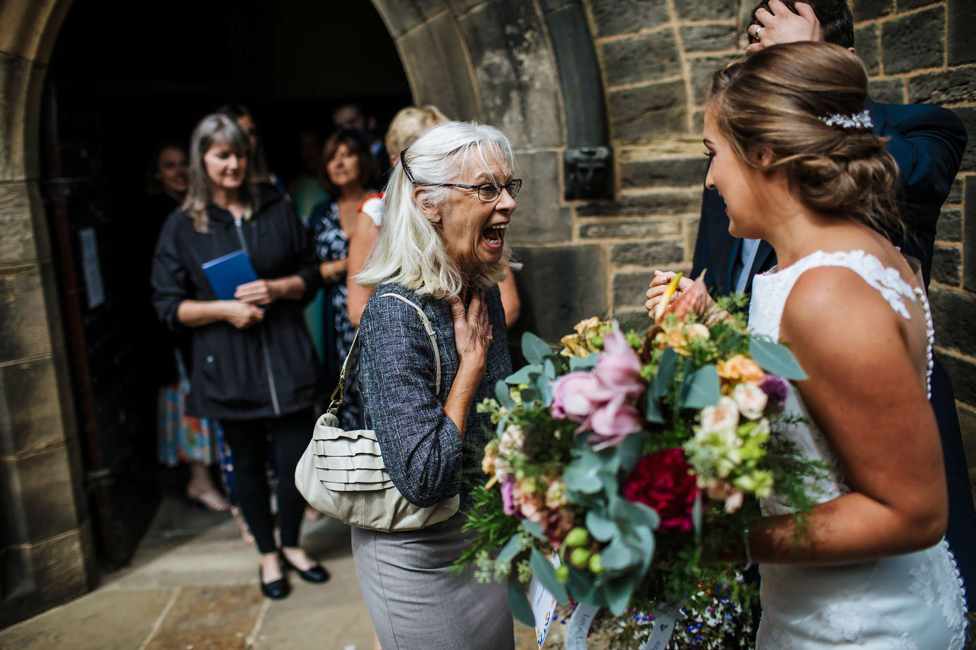 Guests laughing at a Yorkshire wedding