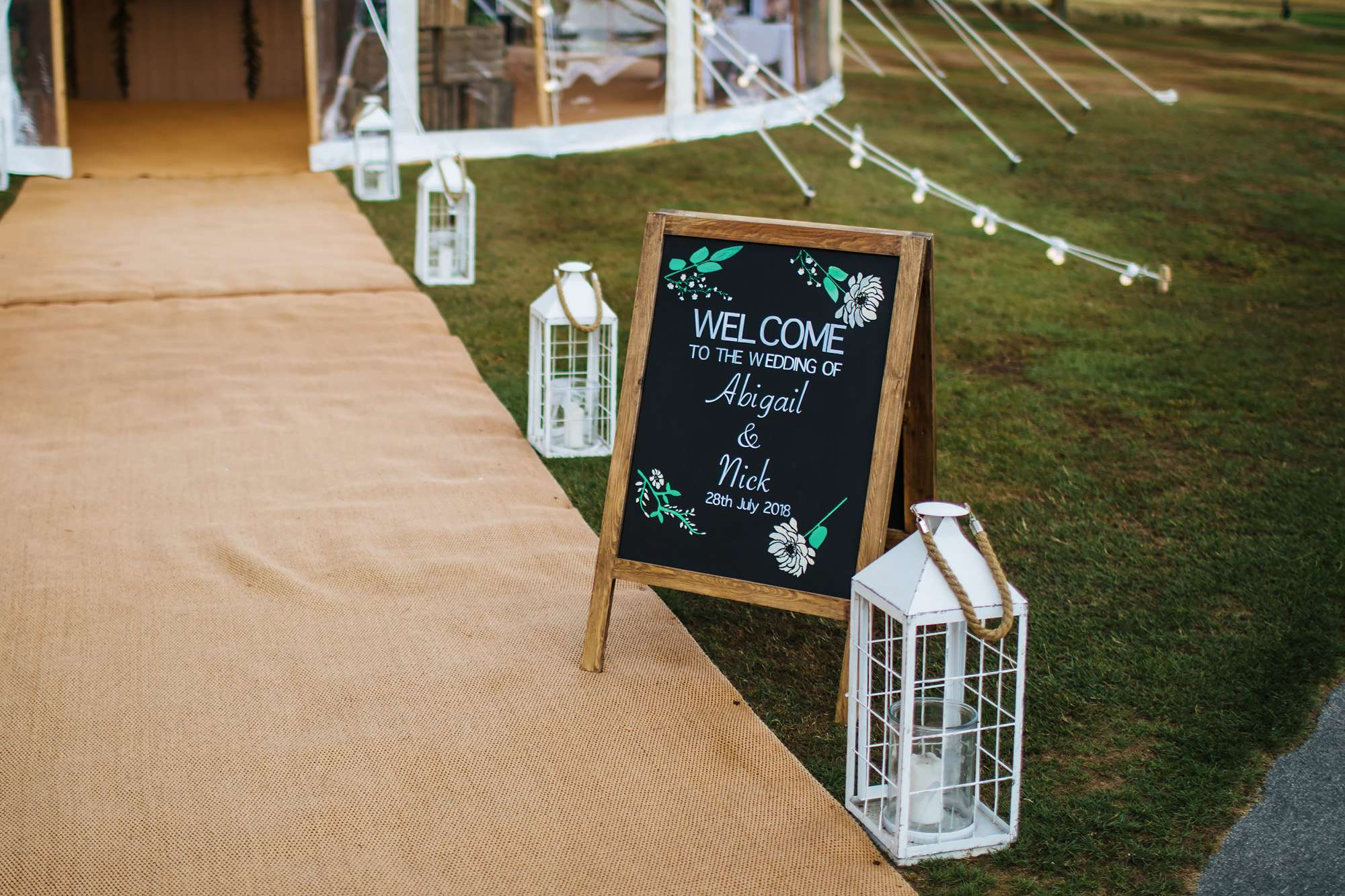 Wedding sign outside a marquee in Yorkshire