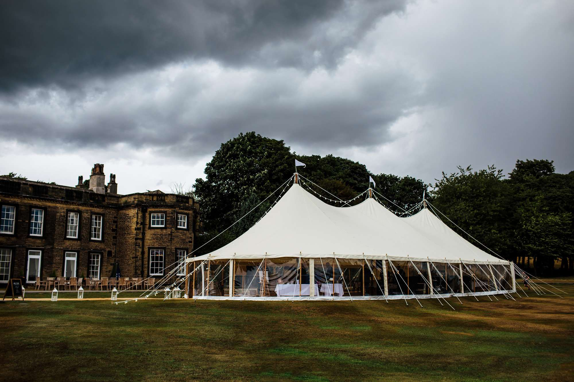 Wedding marquee standing outside Fixby Hall in Huddersfield