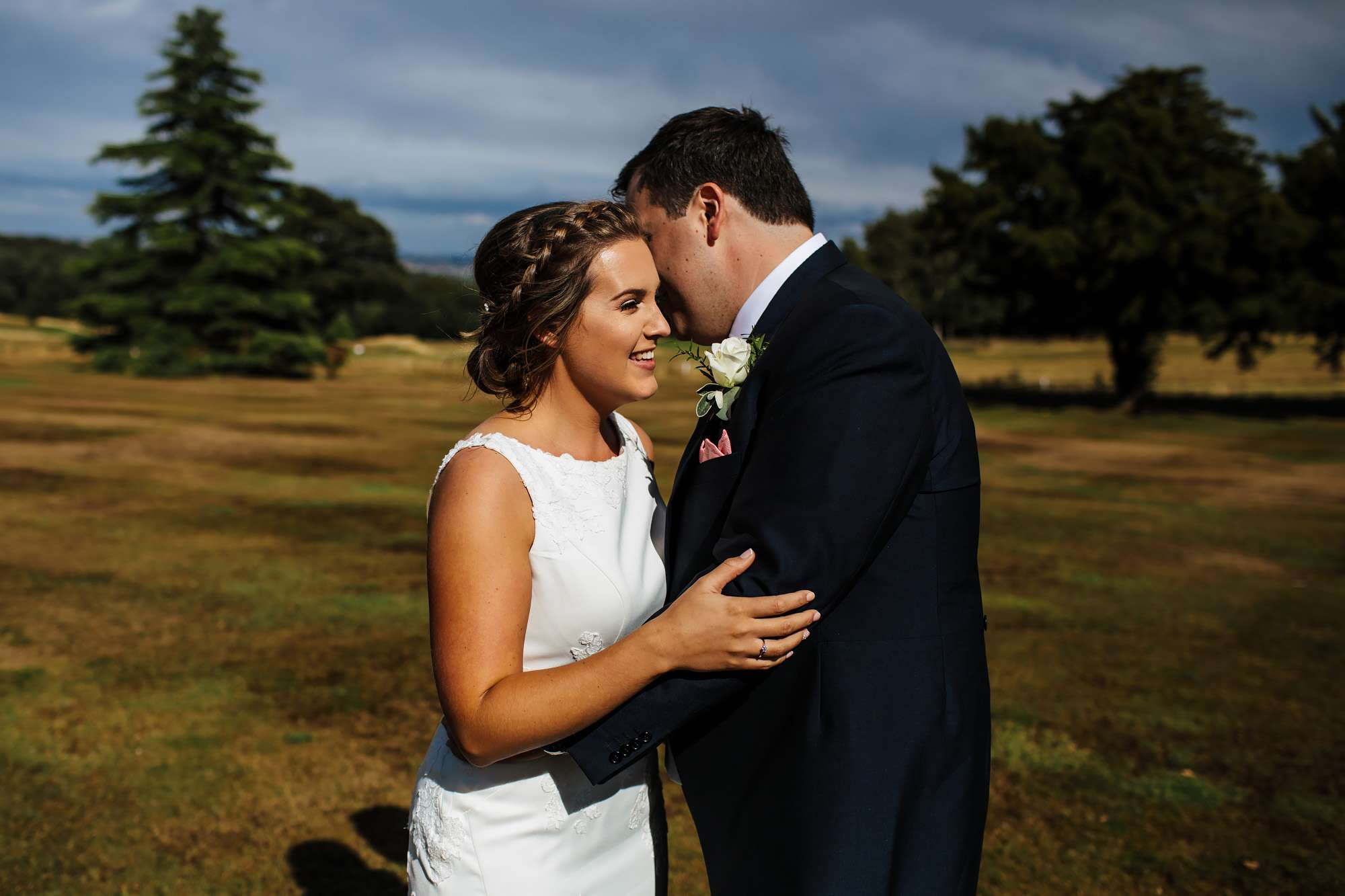 Bride and groom portrait at a Fixby Hall wedding