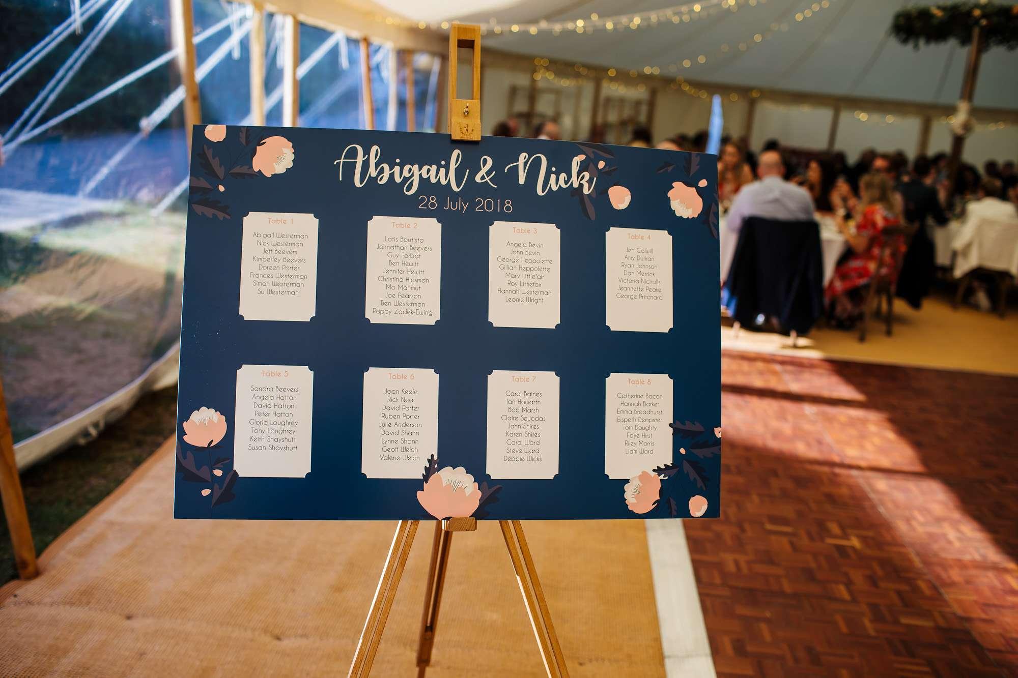 Seating plan in the marquee for a wedding