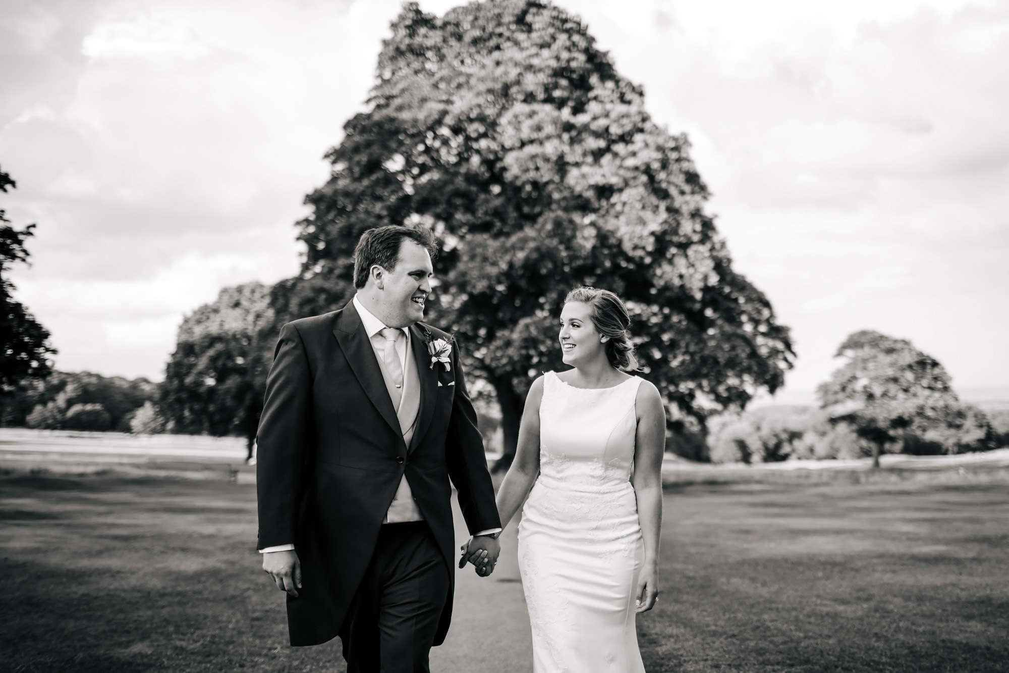 Bride and groom portrait at Fixby Hall