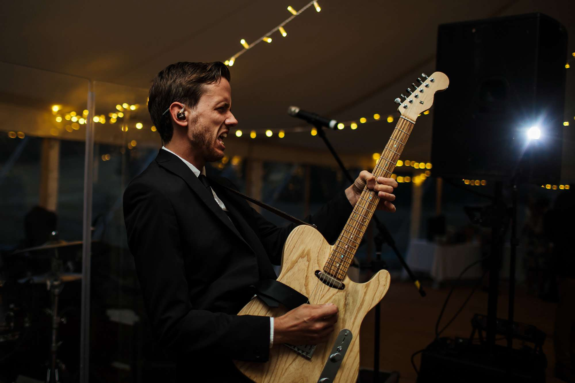 Guitarist performing at a wedding at Fixby Hall