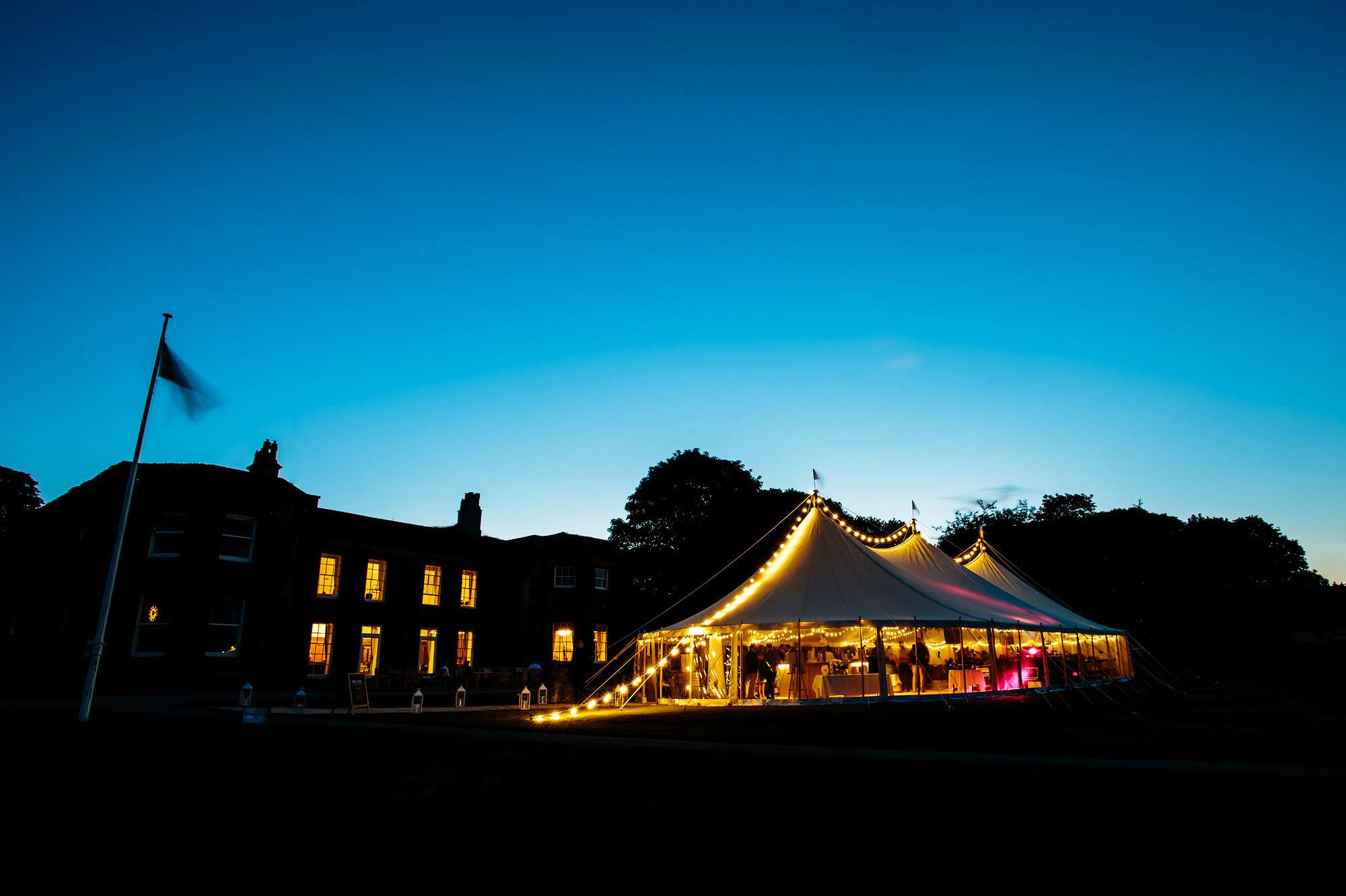 Night time shot of the marquee wedding at Fixby Hall Yorkshire