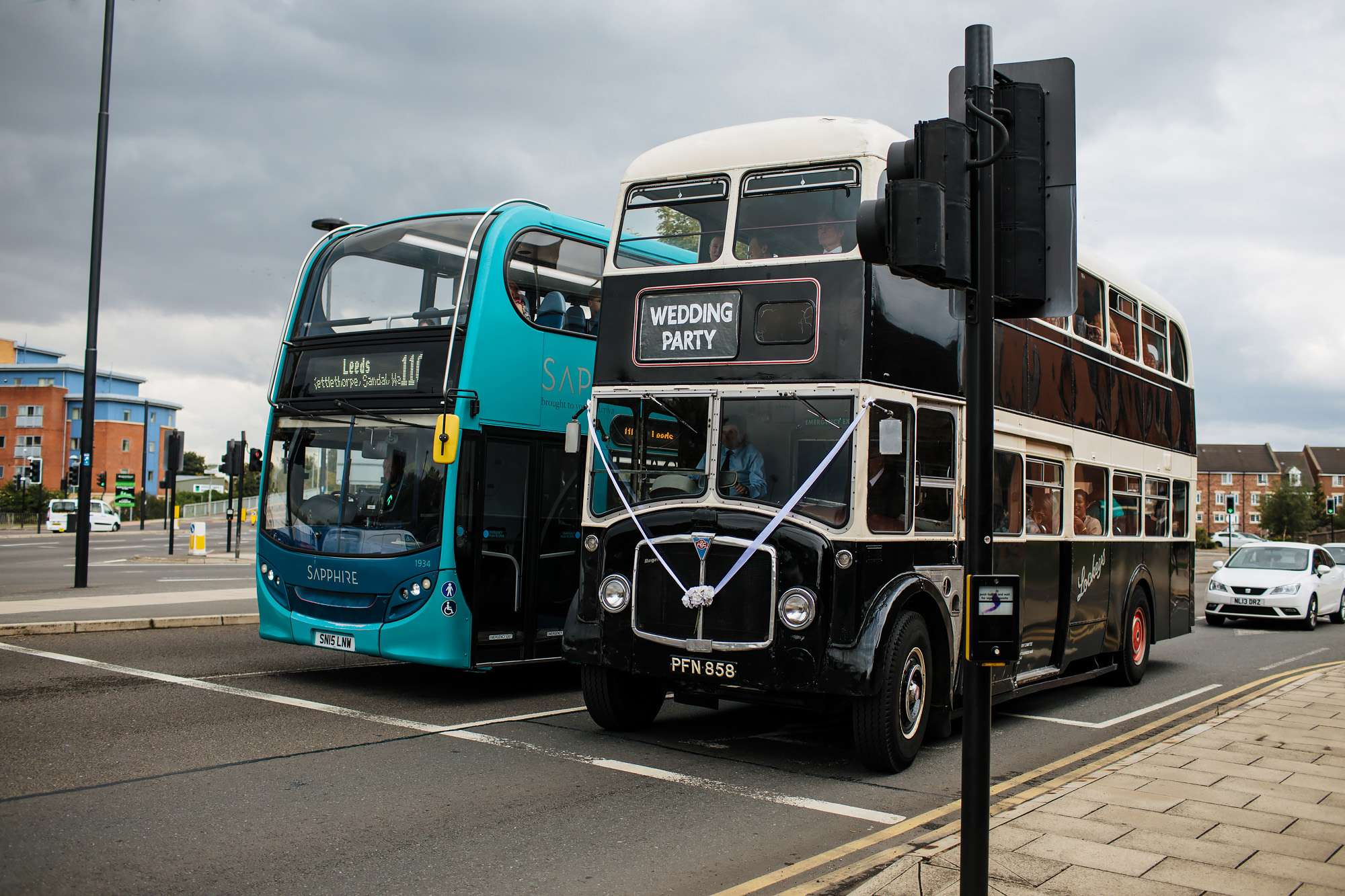 Vintage bus at a wedding in Wakefield