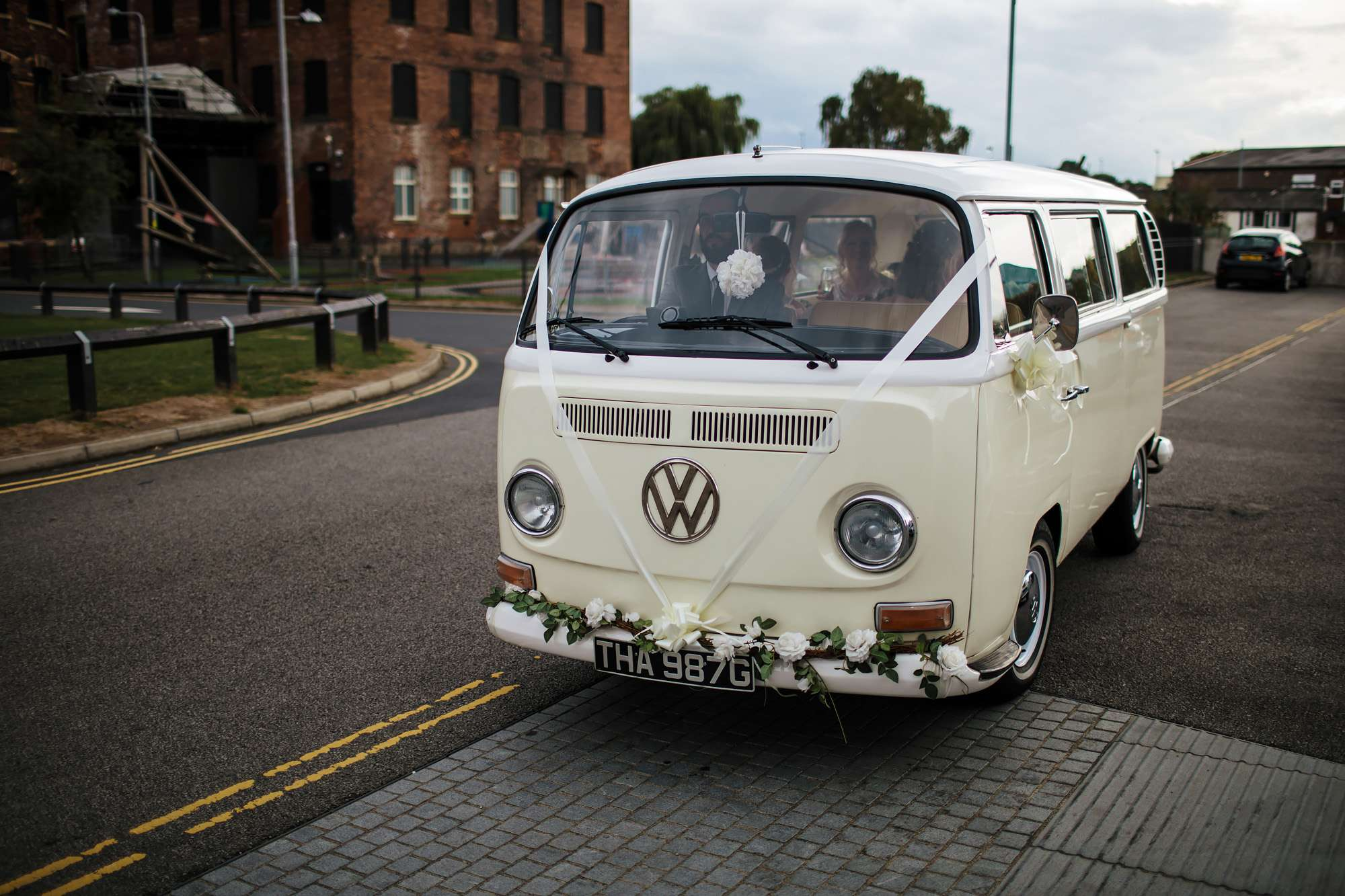 VW campervan at a wedding in Wakefield