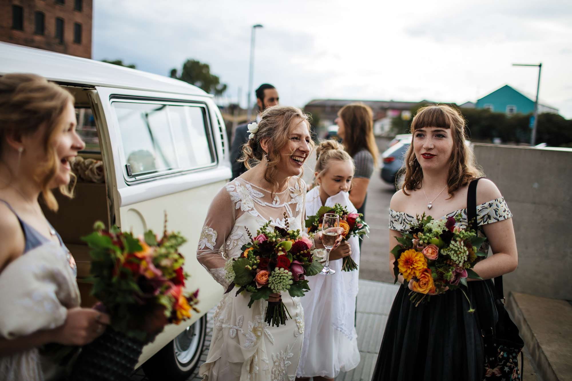 Bride and her bridesmaids arrive at Hepworth Art Gallery