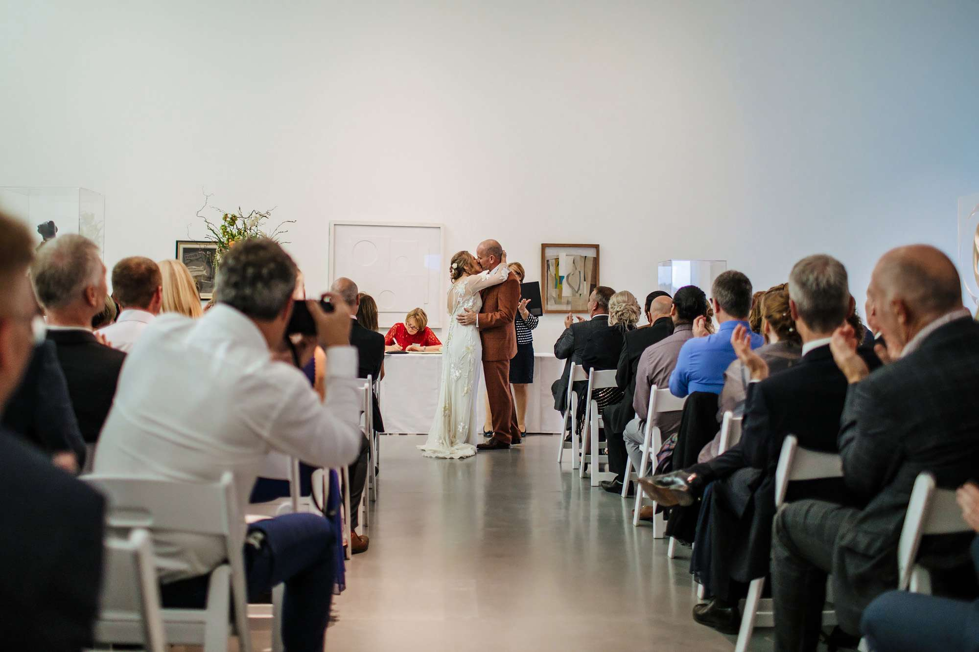 First kiss at a Hepworth Art Gallery wedding