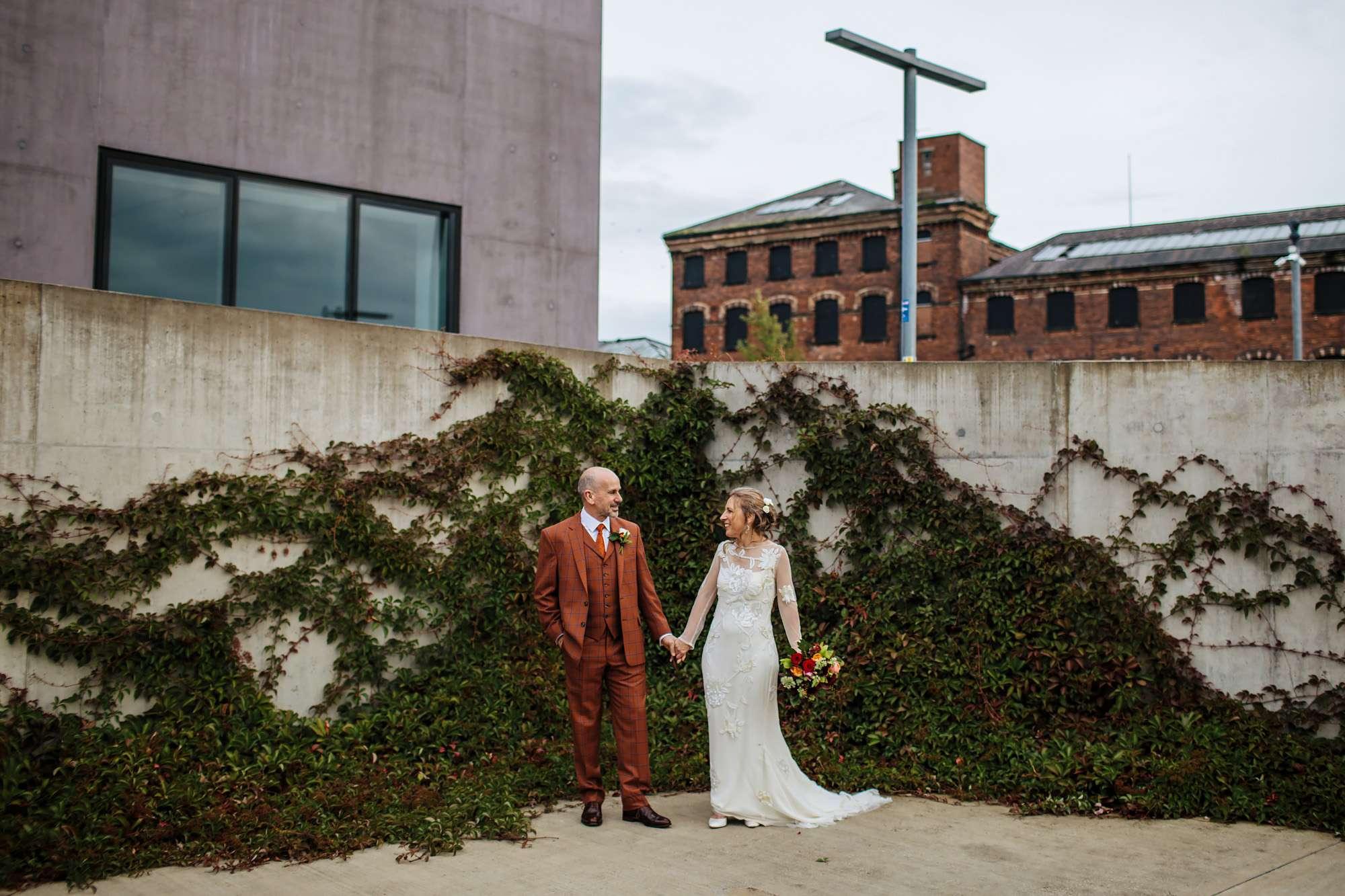 Newlyweds at their wedding at Hepworth Art Gallery