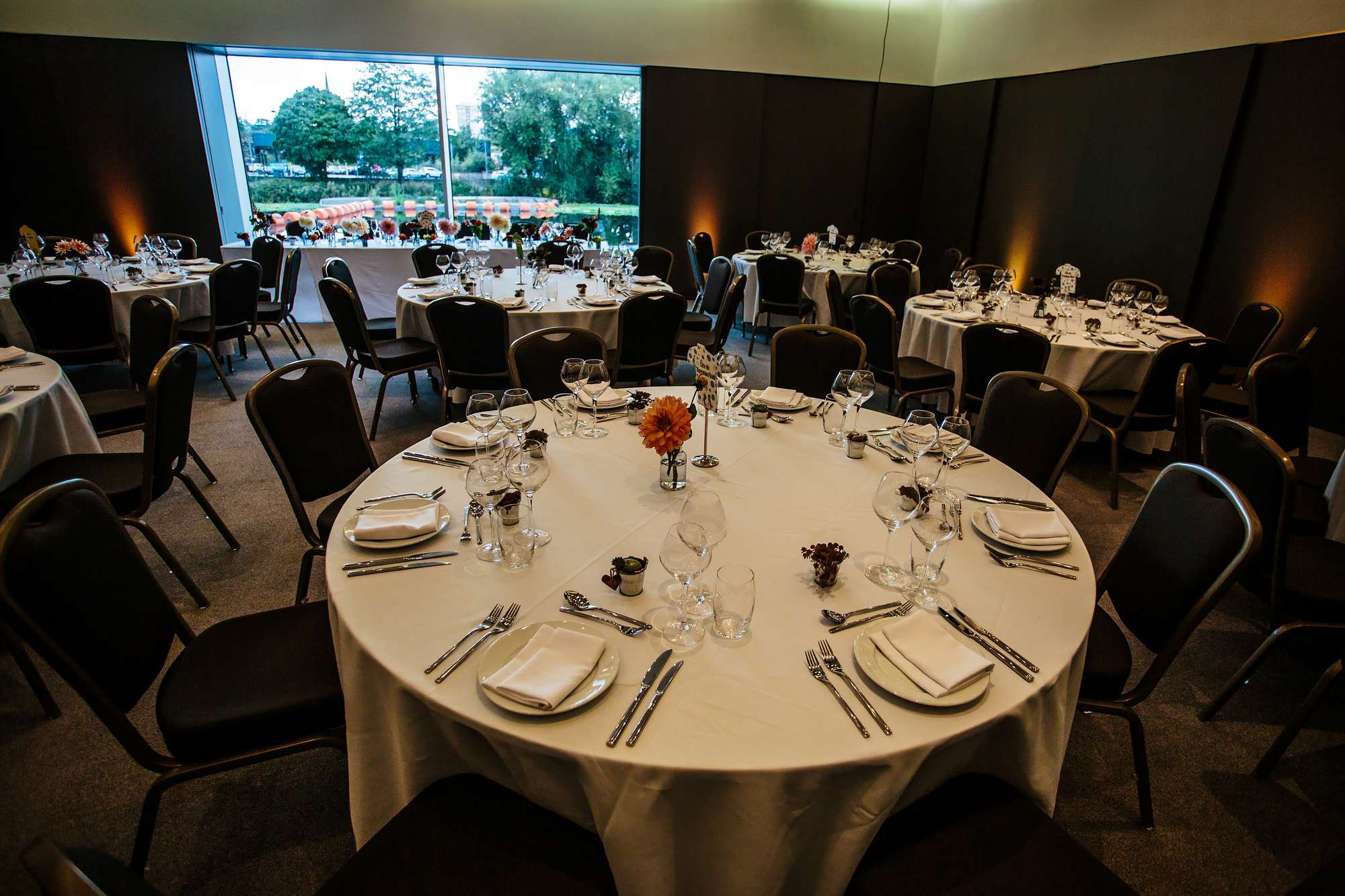 Table set up at a Hepworth Art Gallery wedding