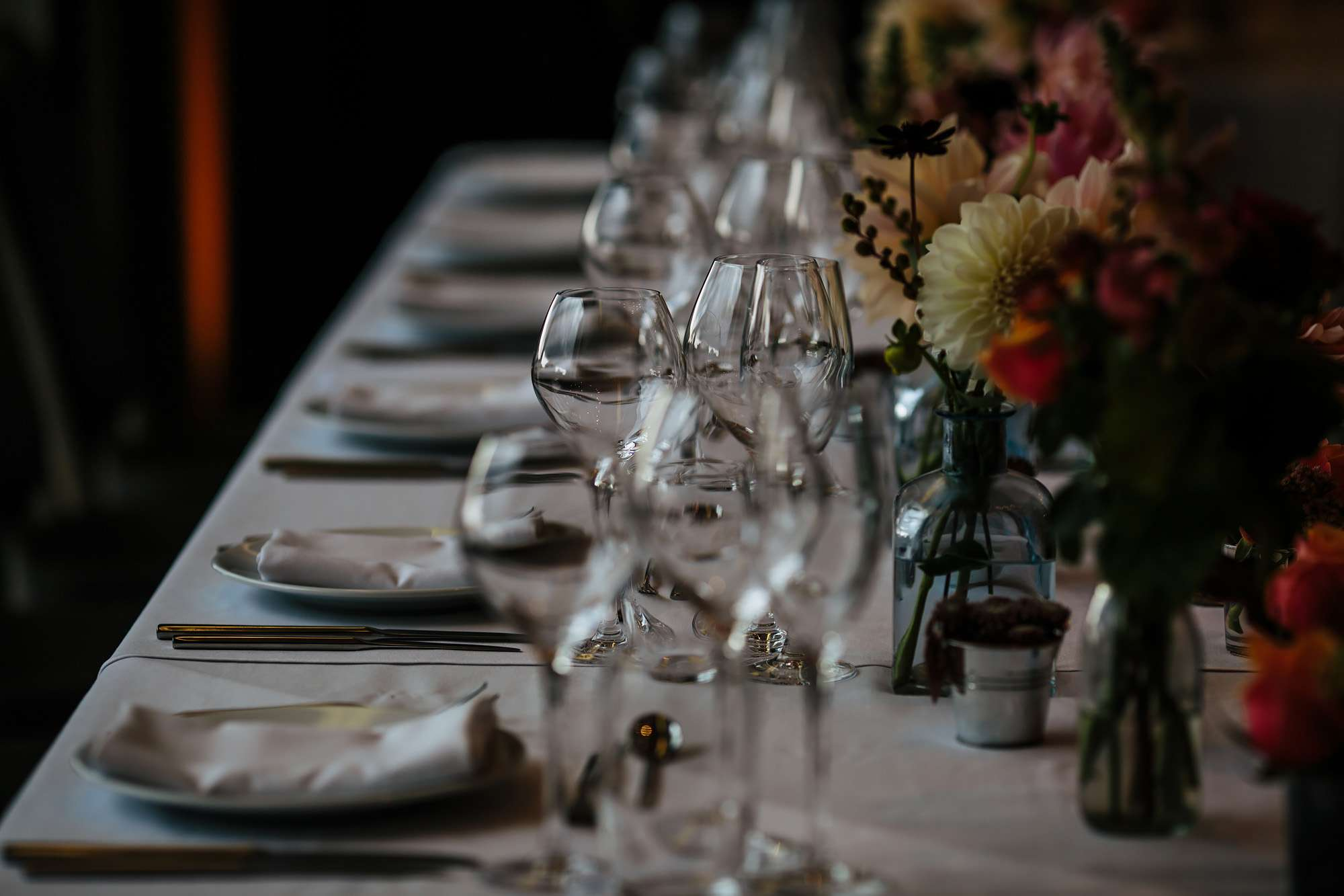 Table details at a wedding in Wakefield