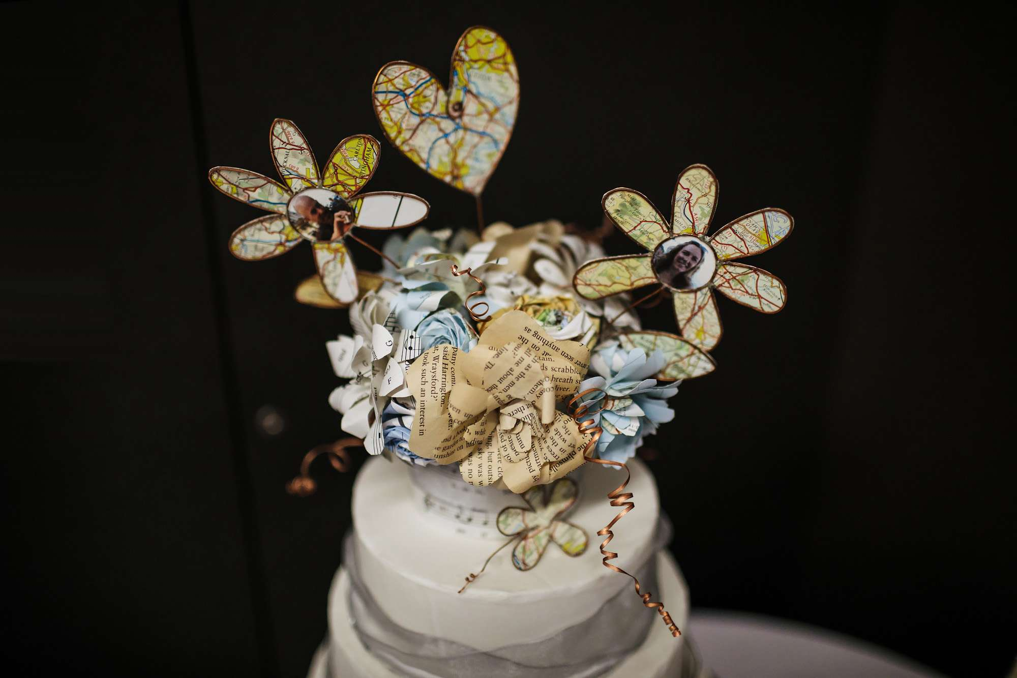 Close up shot of a wedding cake decorations