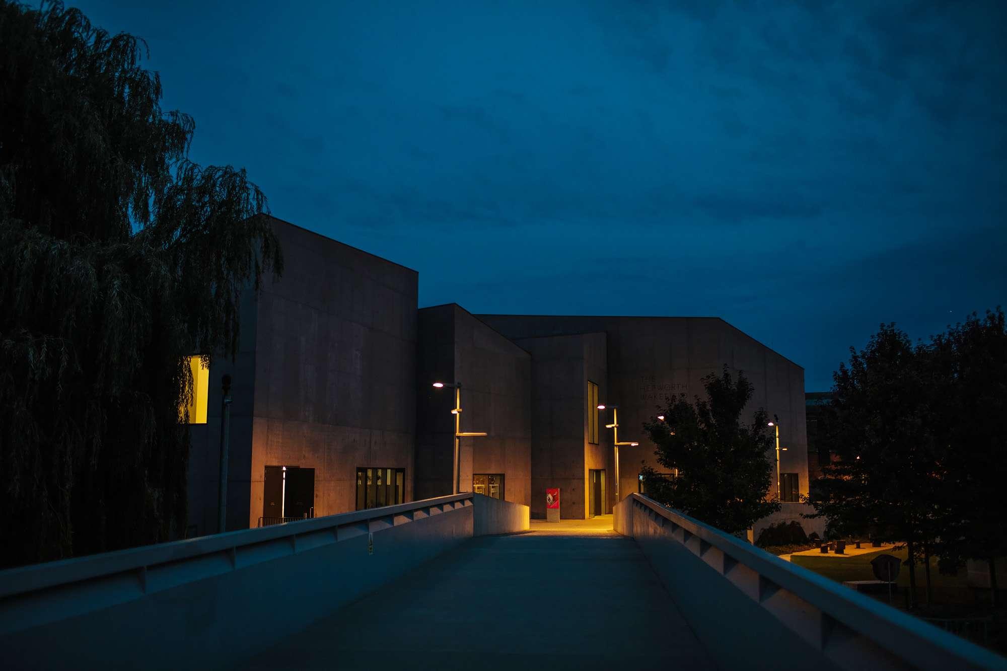 Evening shot of Hepworth Art Gallery in Wakefield