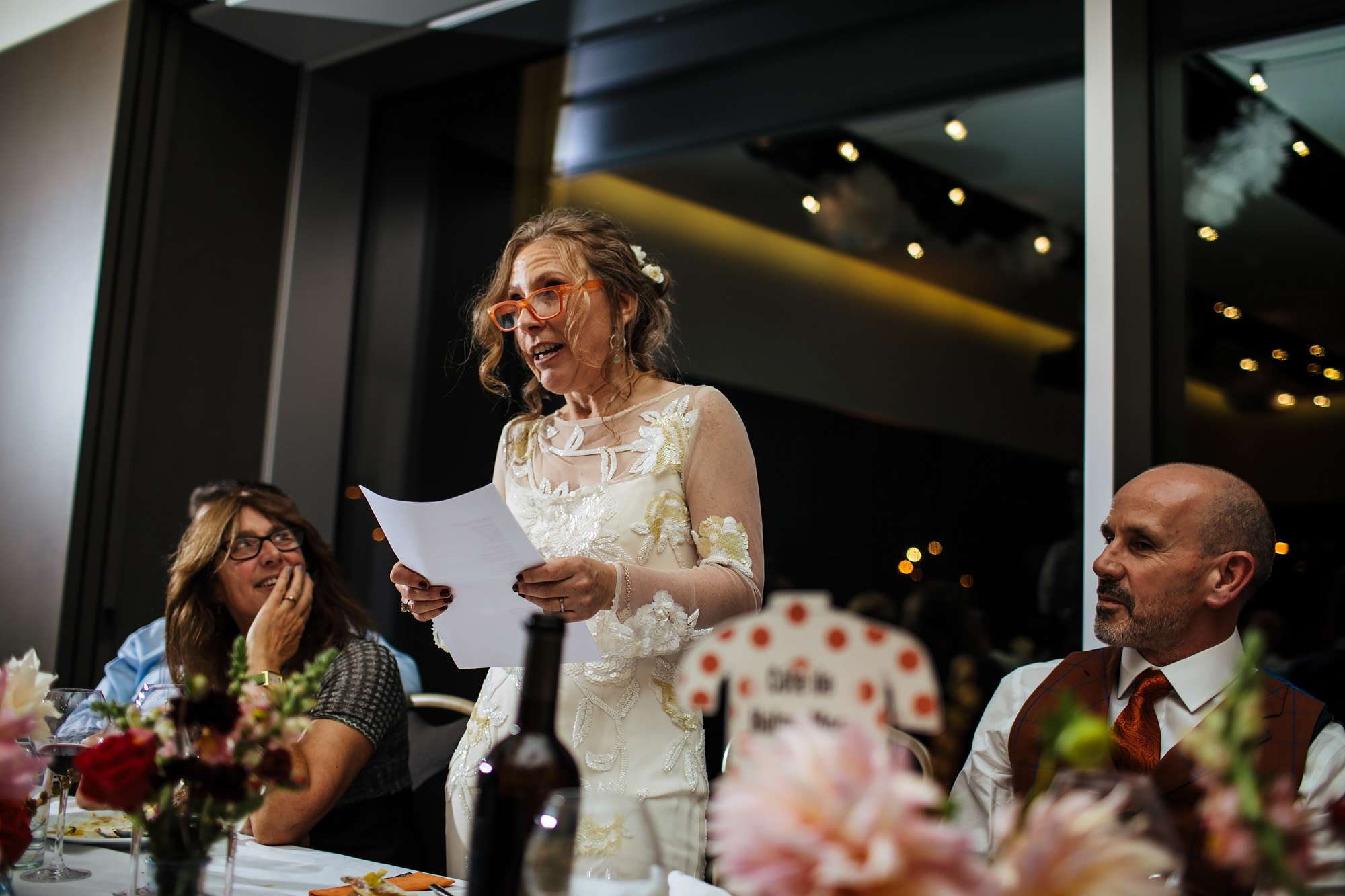 Bride making her speech at a Yorkshire wedding in Wakefield