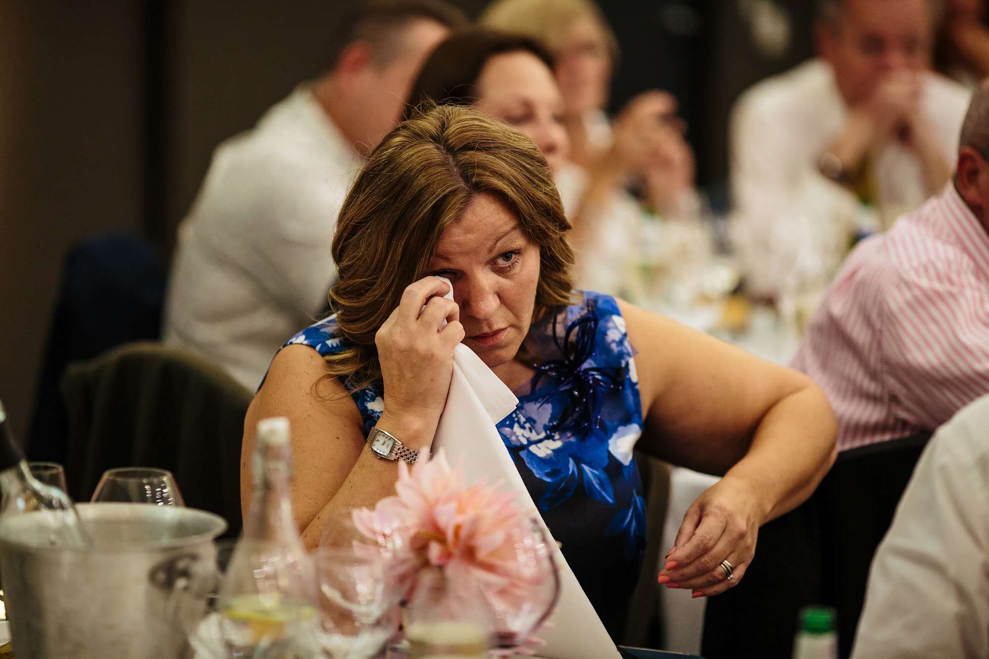 Wedding guest getting emotional during the speeches