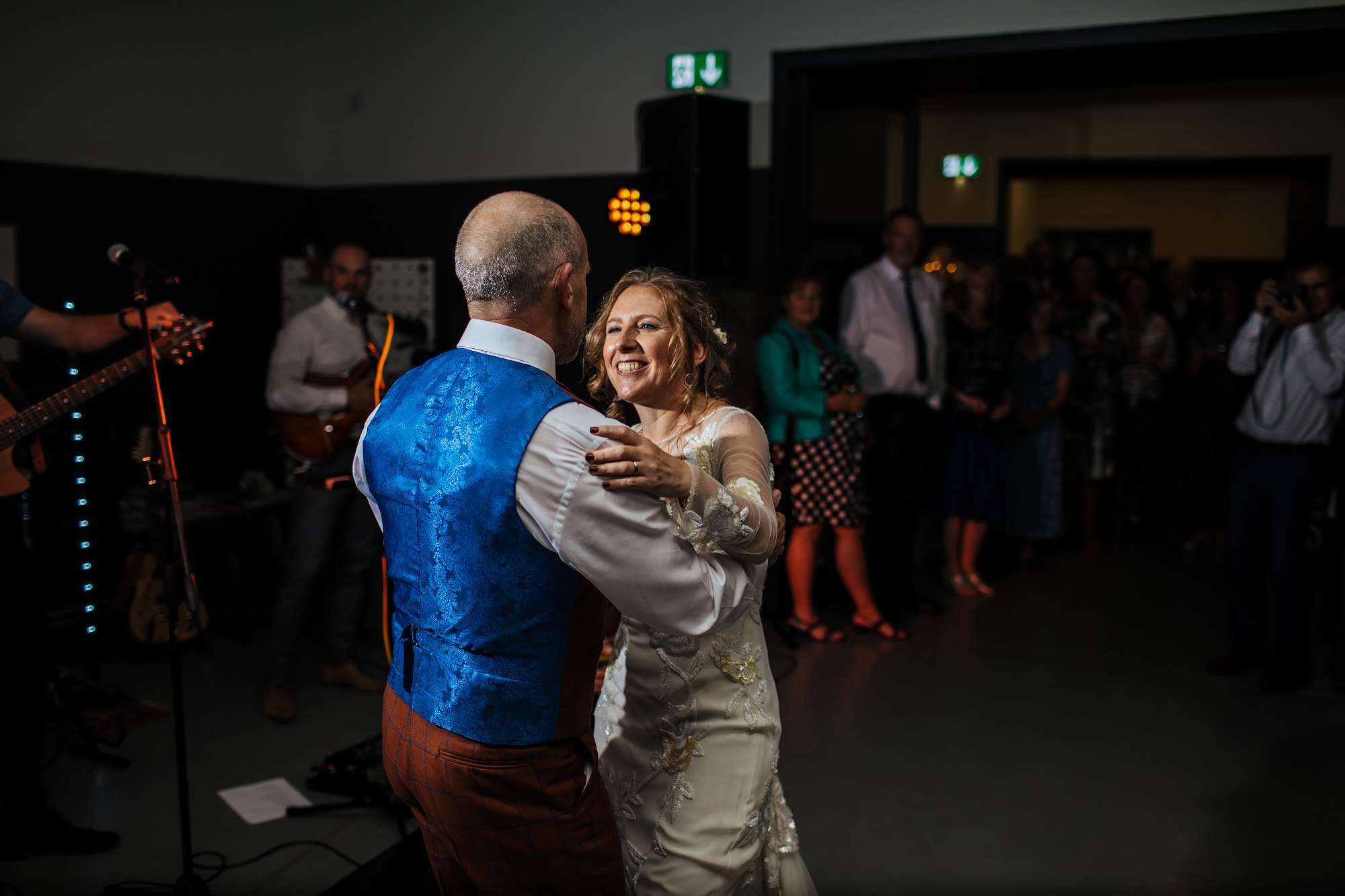 Bride and groom perform their first dance at Hepworth Art Gallery