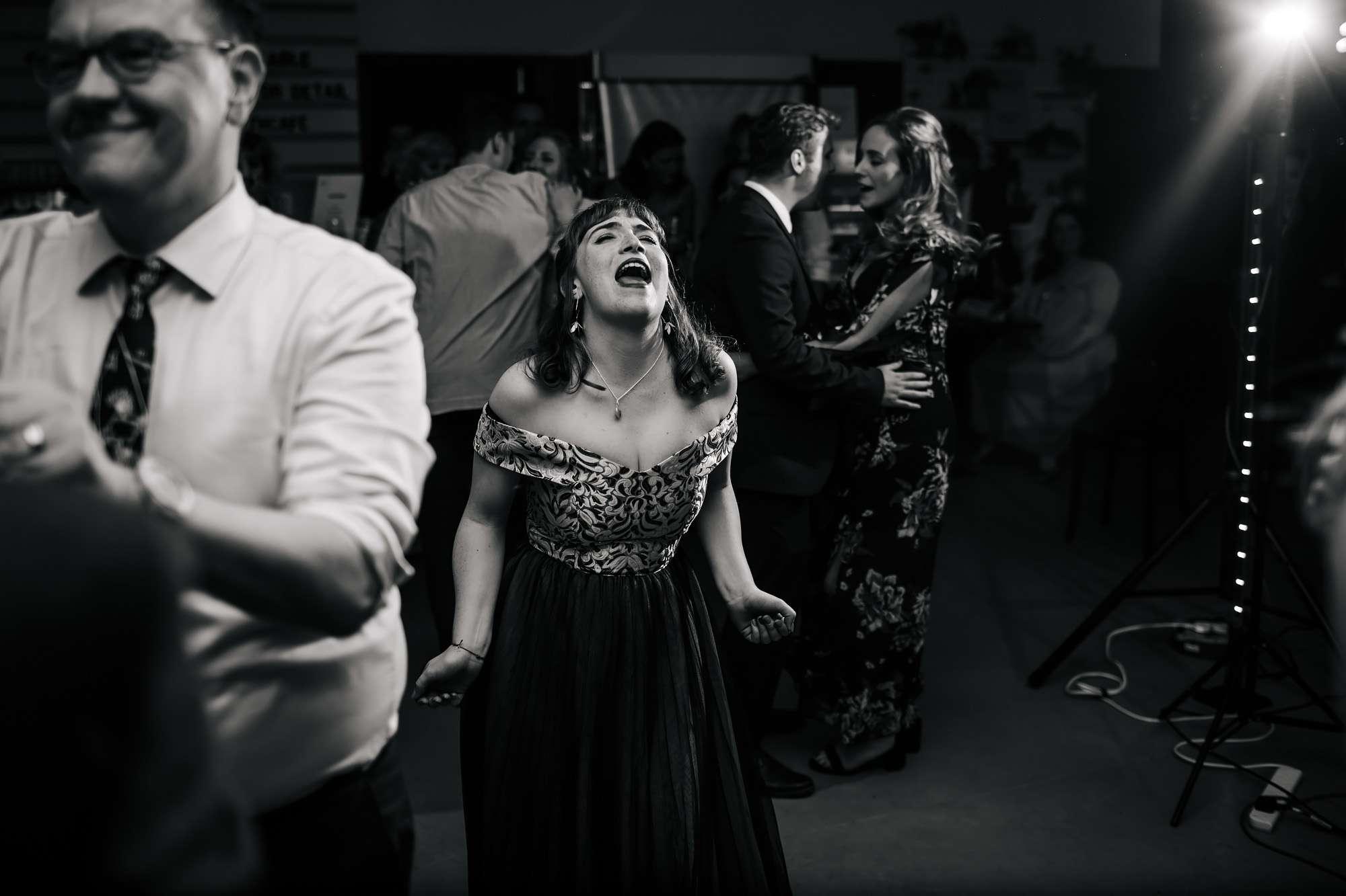 Bridesmaid dancing at a Hepworth Art Gallery wedding