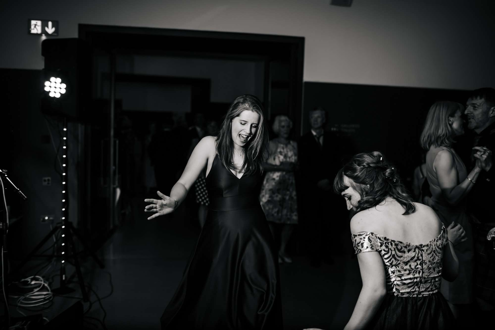 Wedding guests dancing in the evening in Wakefield