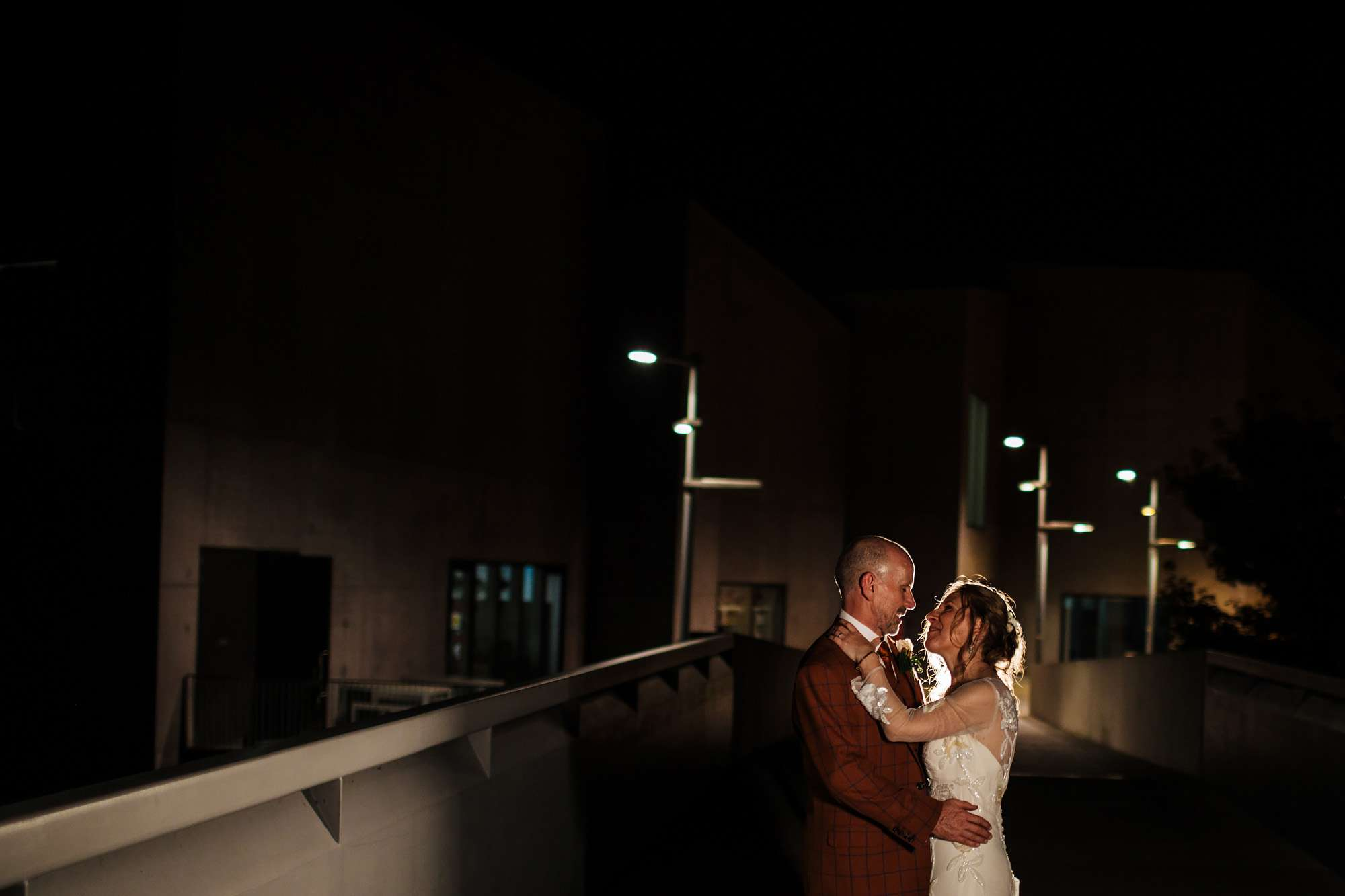 Bride and groom evening portrait at Hepworth Art Gallery