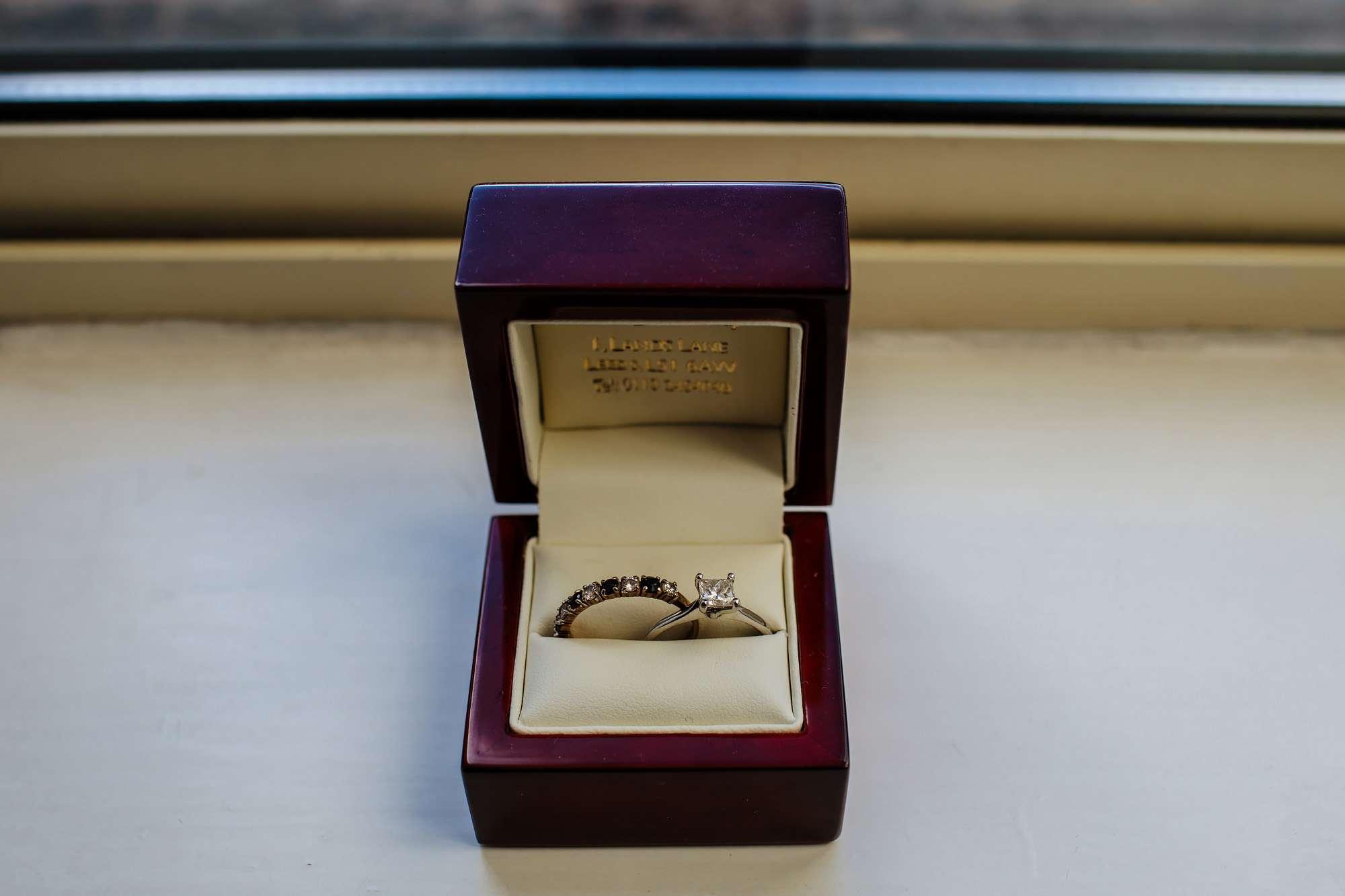 Wedding rings on the window ledge