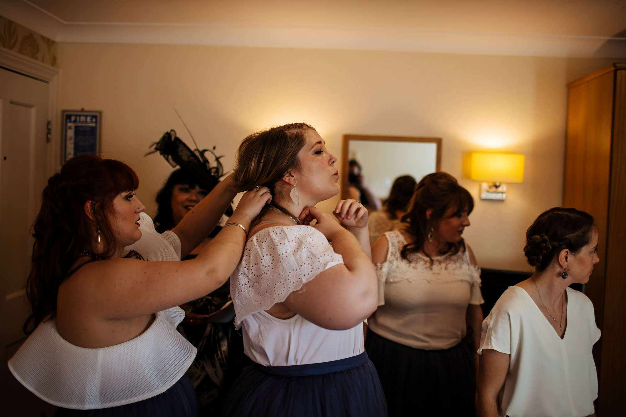 Bridesmaids getting ready for the wedding