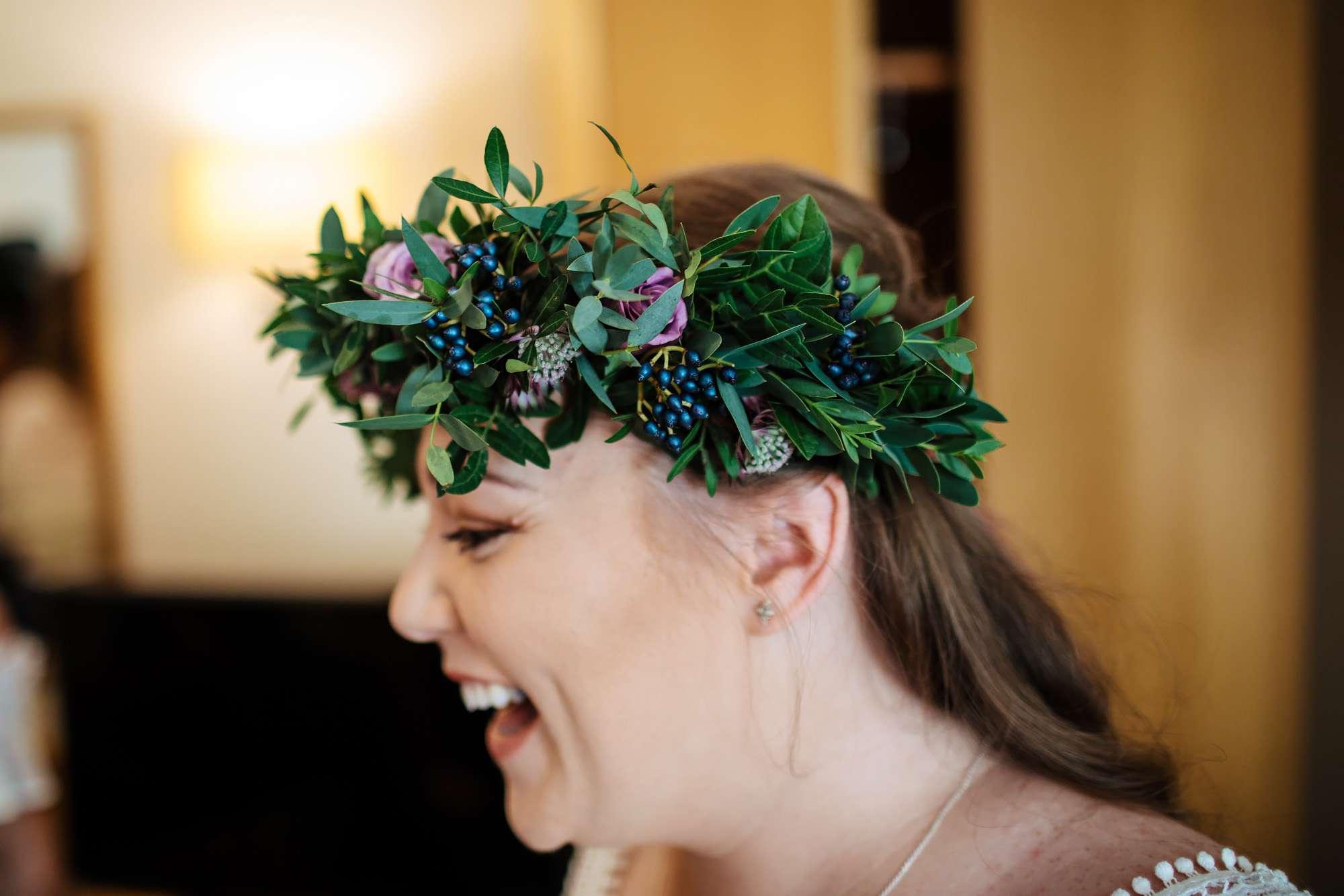 Bride's beautiful flower crown on her wedding day