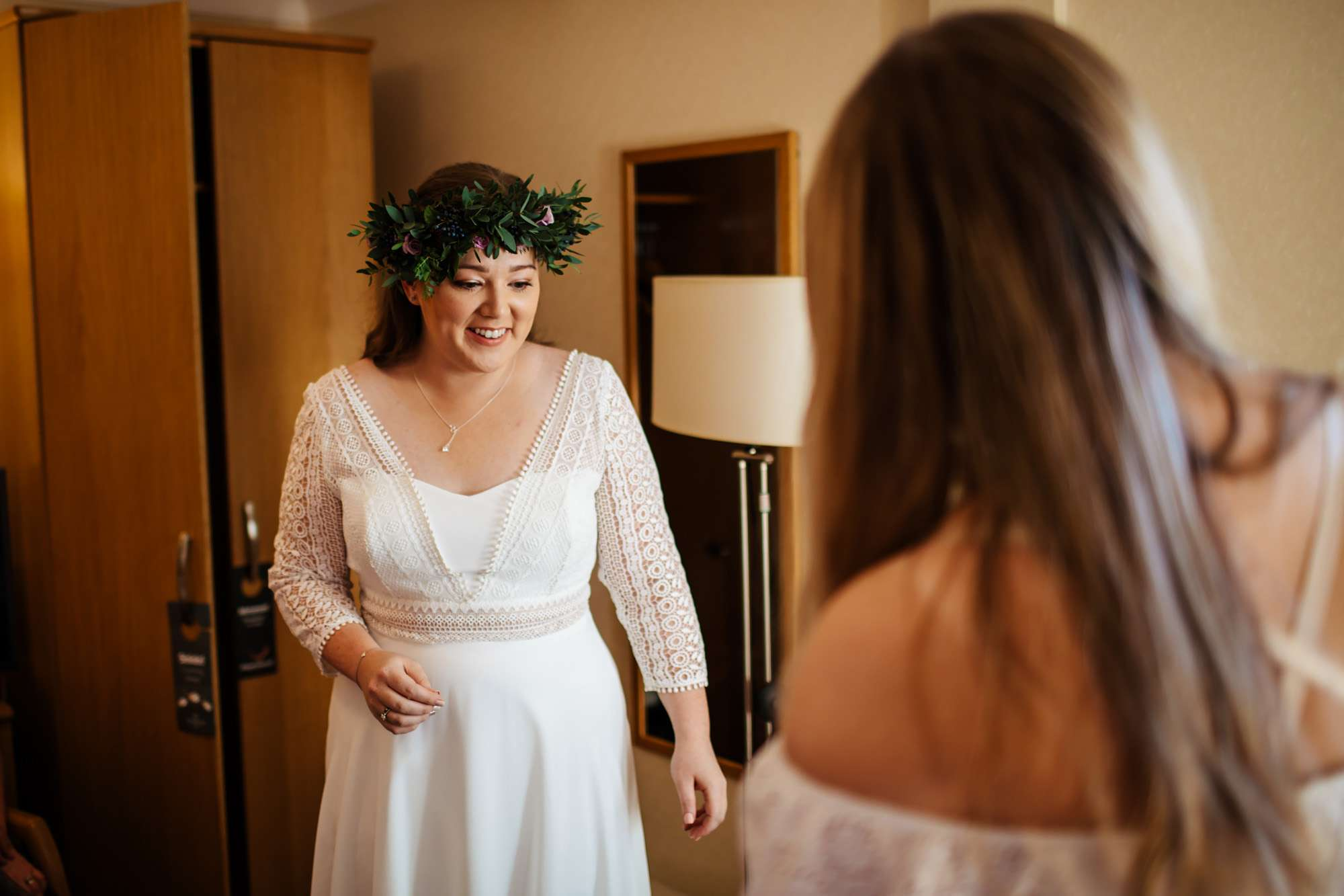 Bride getting ready for her wedding in Leeds