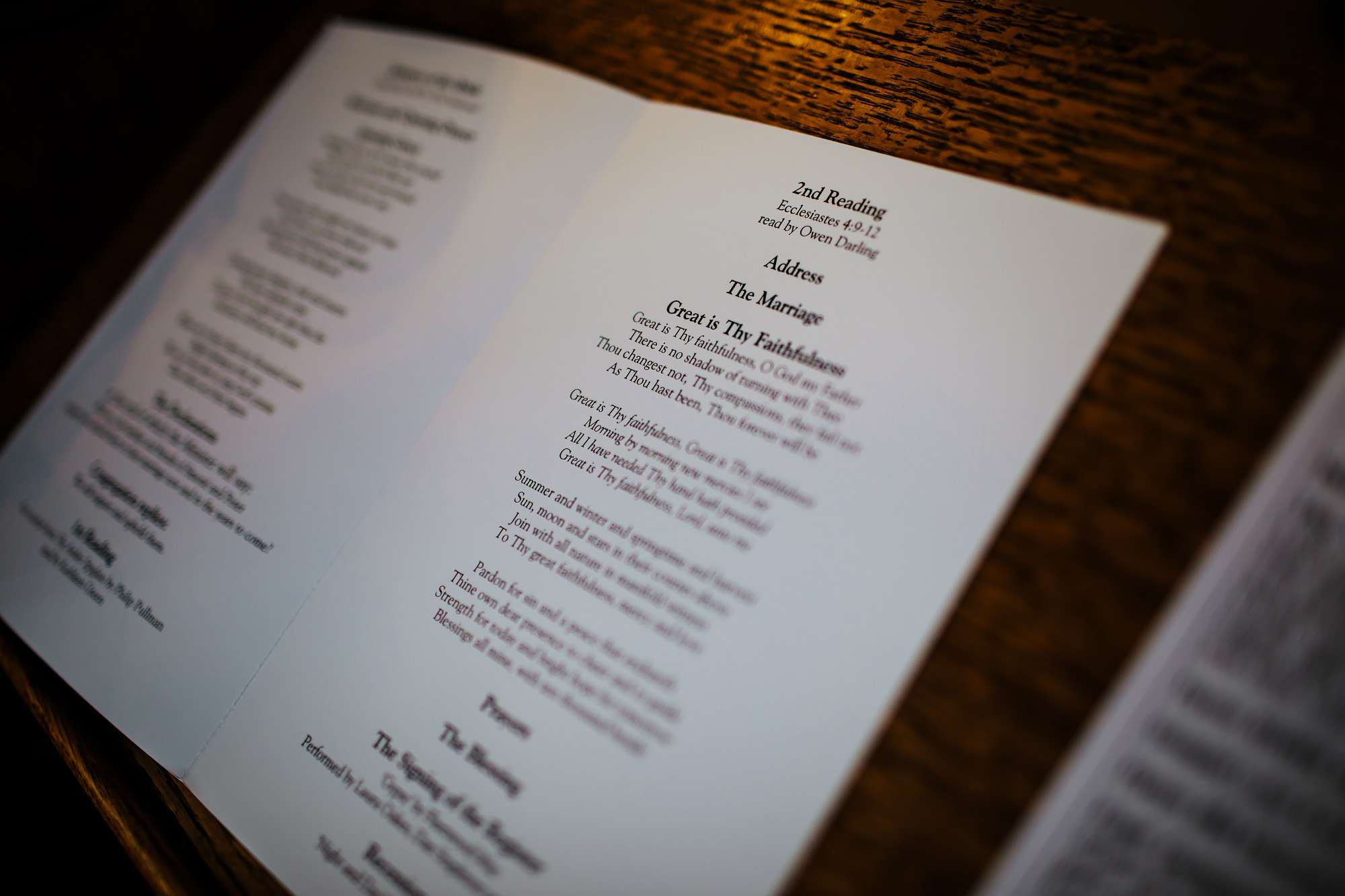Order of service at a wedding in Leeds