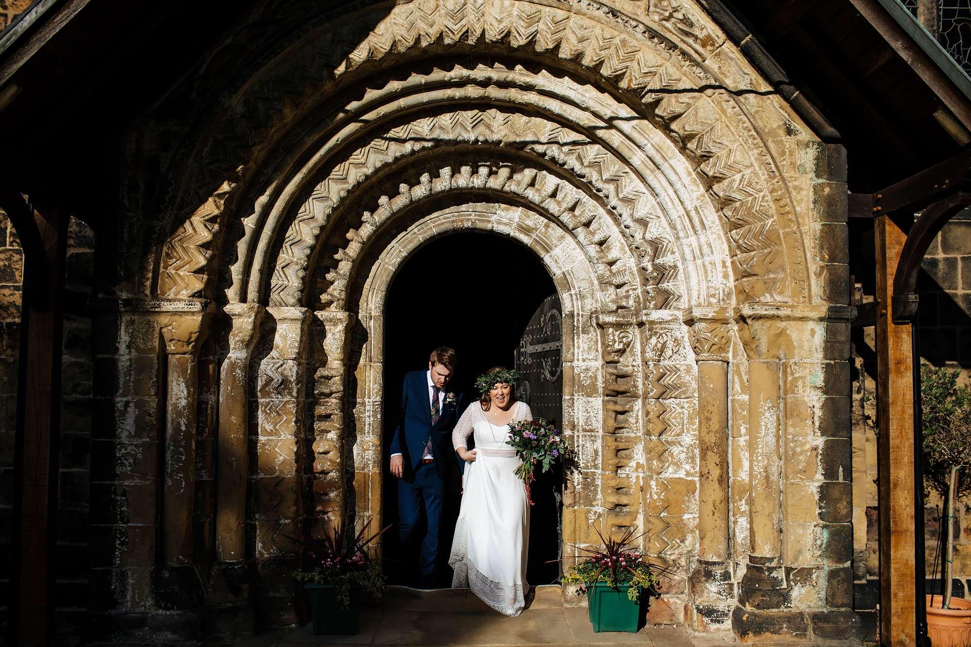 Newlyweds at their church wedding in Leeds
