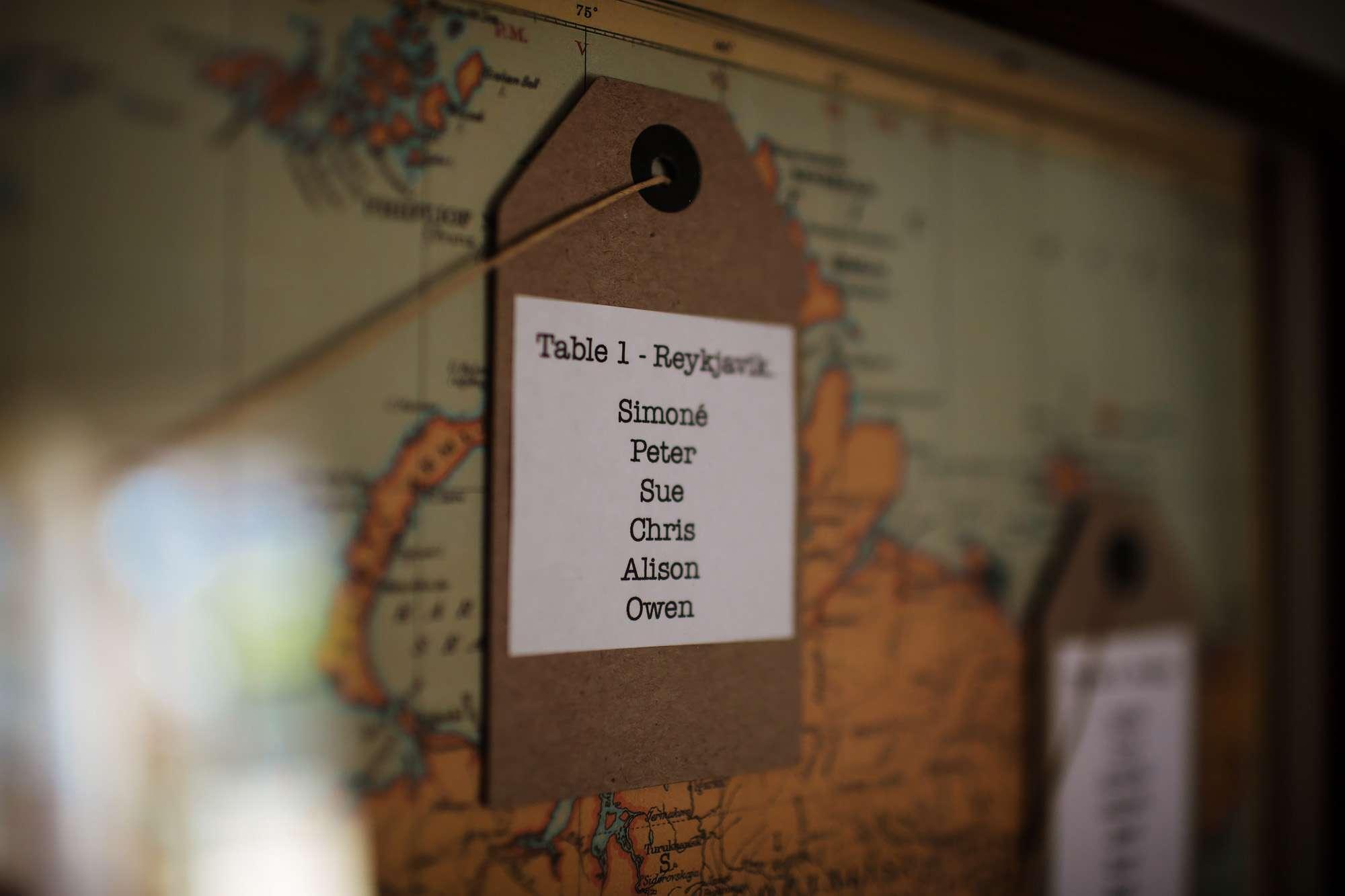Table seating plan map at a Leeds wedding