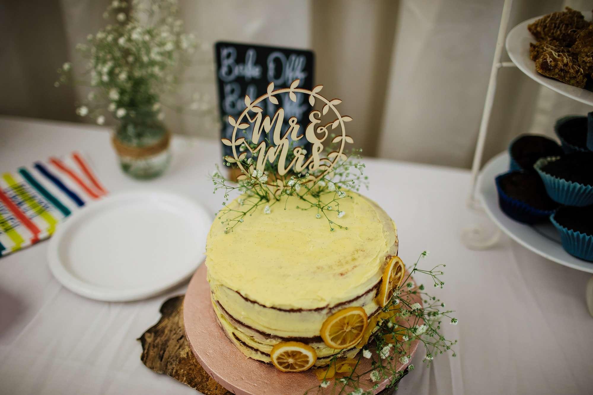 Wedding cake at a bake off themed wedding