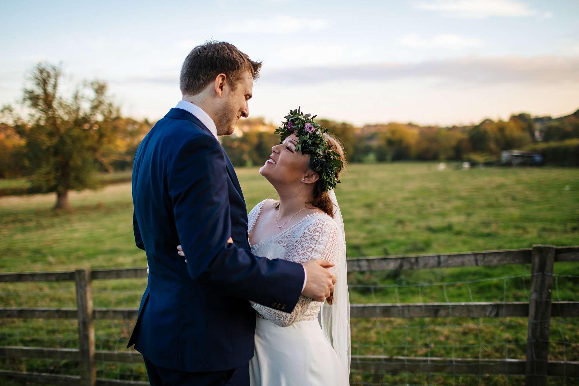 Bride and groom portrait at East Keswick Village Hall Leeds