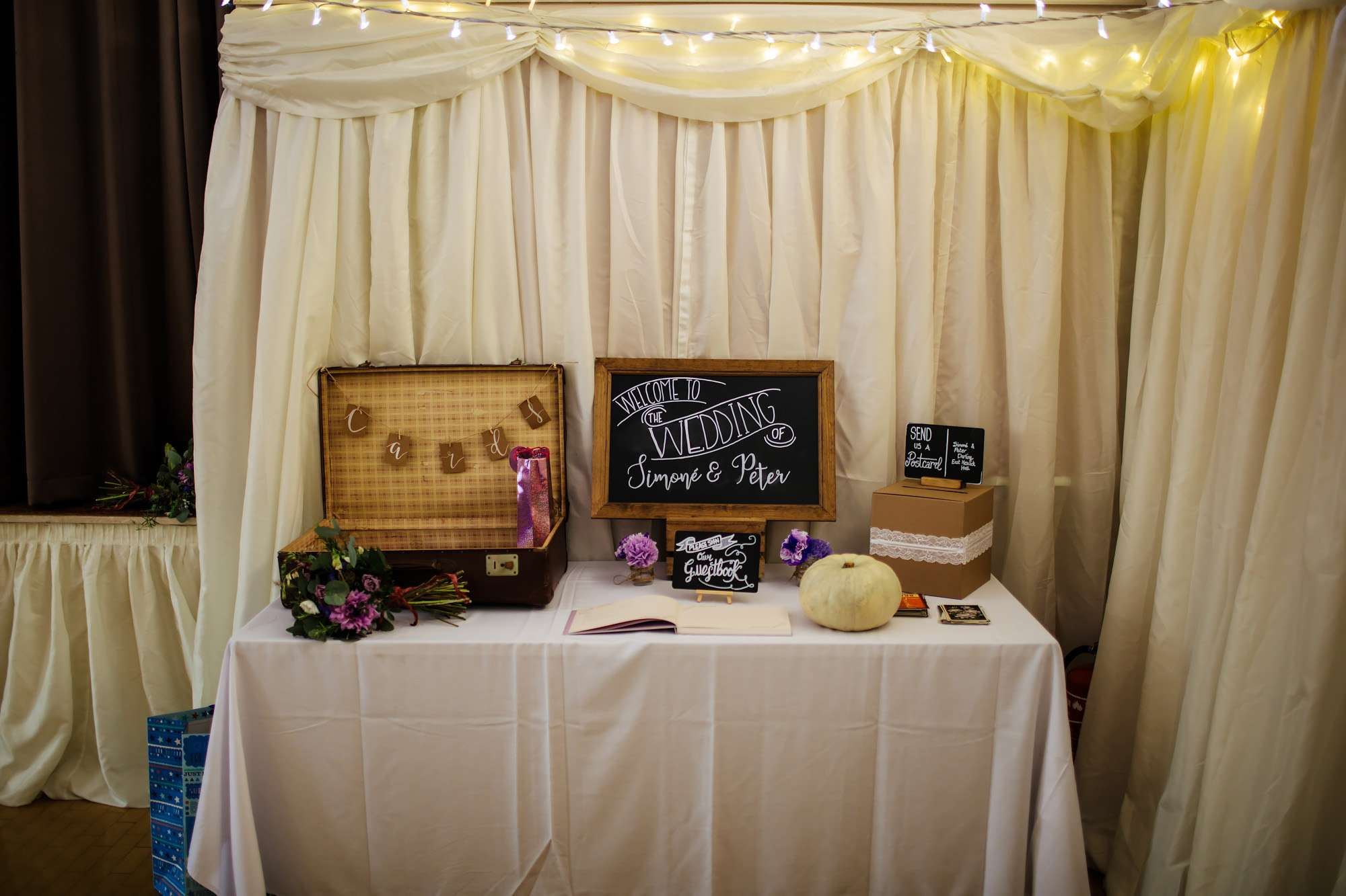 Wedding details at East Keswick Village Hall