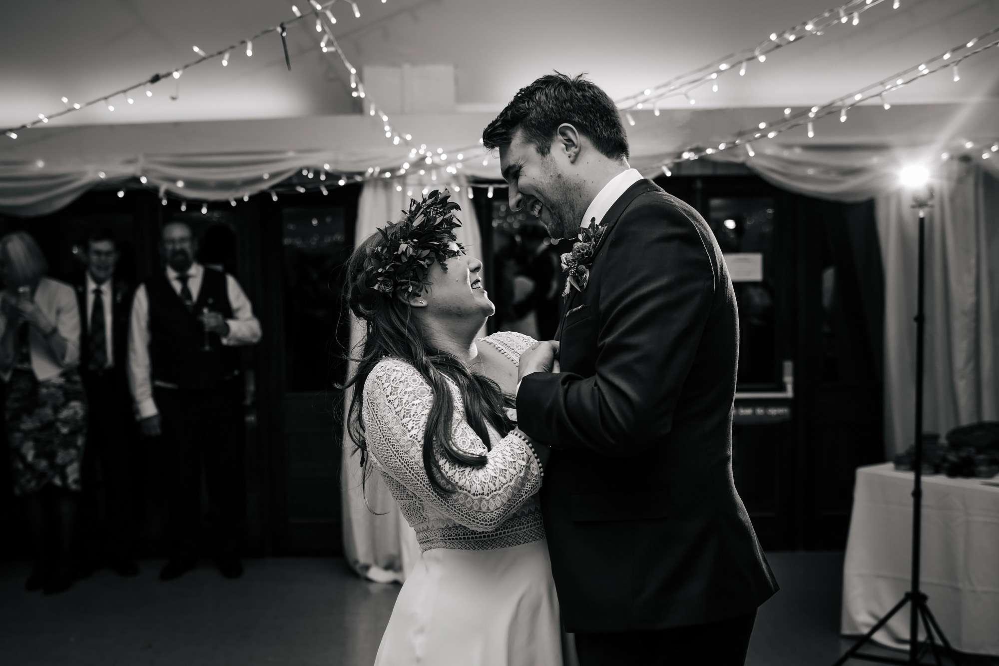 Bride and groom dancing at their Leeds wedding